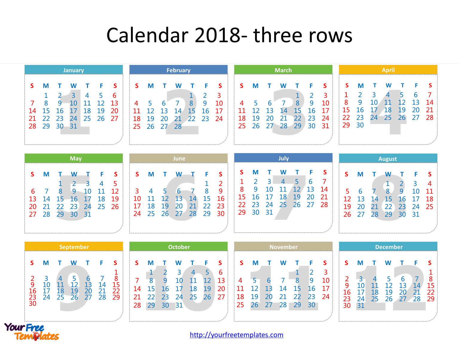 Calendar template 2018 free powerpoint templates for 3 day calendar template