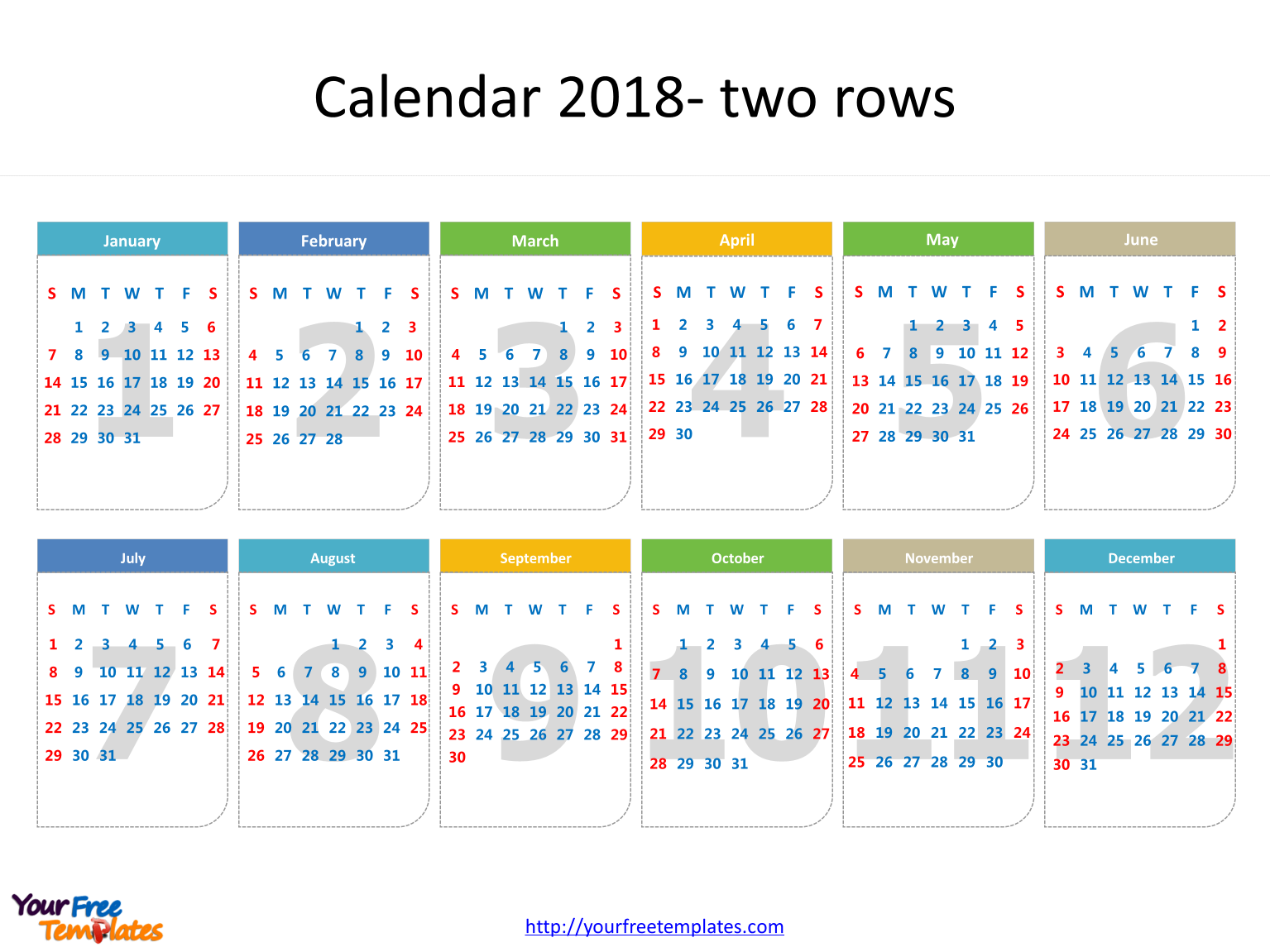 2018 Calendar template with every date in it