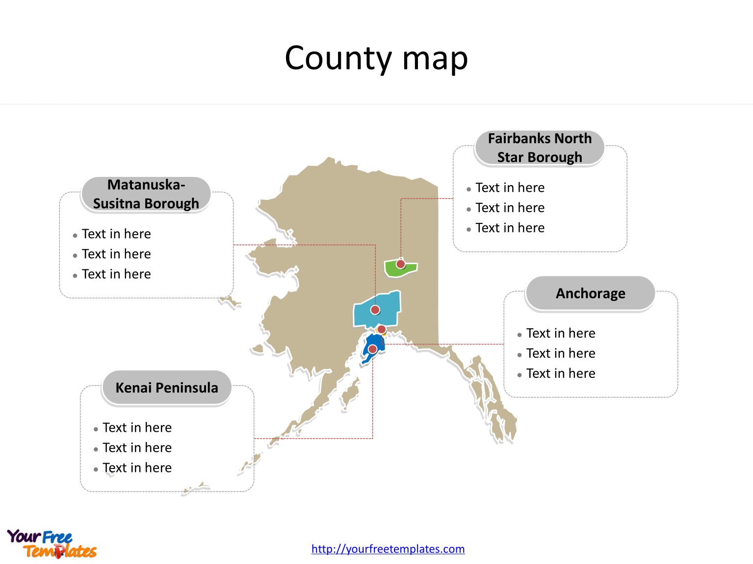 Alaska Maps Online PowerPoint Templates Free PowerPoint Templates - Alaska county map