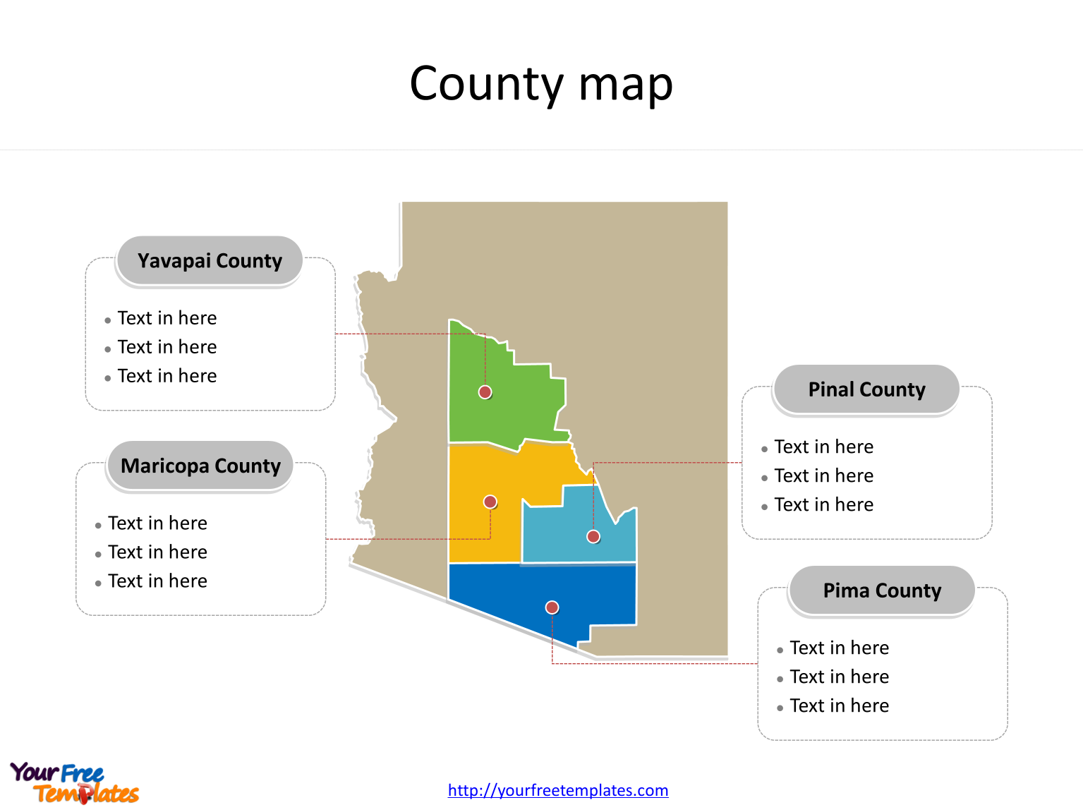 State of Arizona map with major counties labeled on the Arizona maps PowerPoint templates