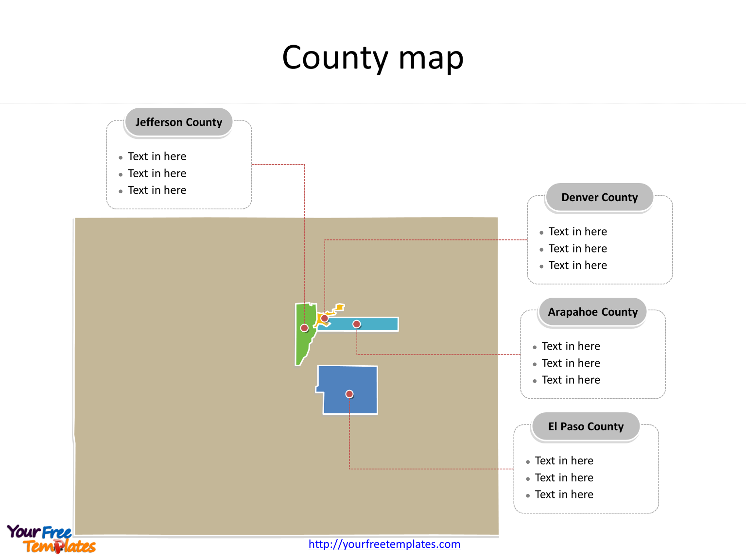 State of Colorado map with major counties labeled on the Colorado maps PowerPoint templates