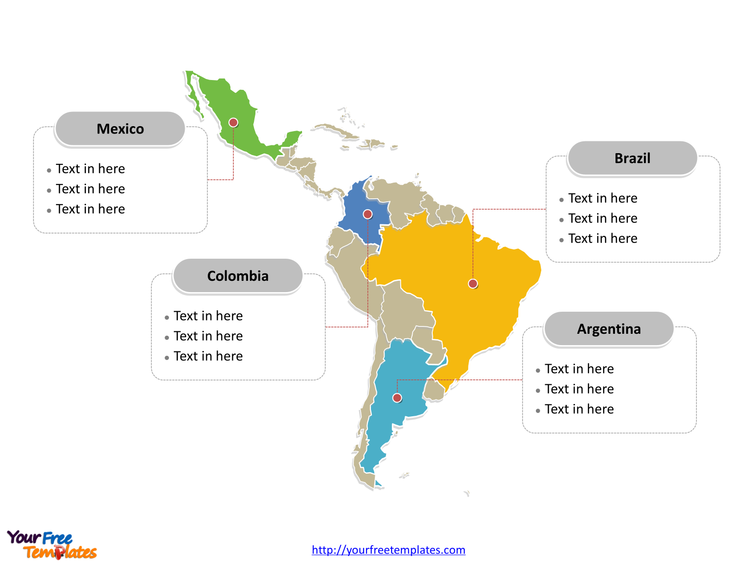 Map of Latin America with political division and major Countries labeled on the Blank Latin America map free templates