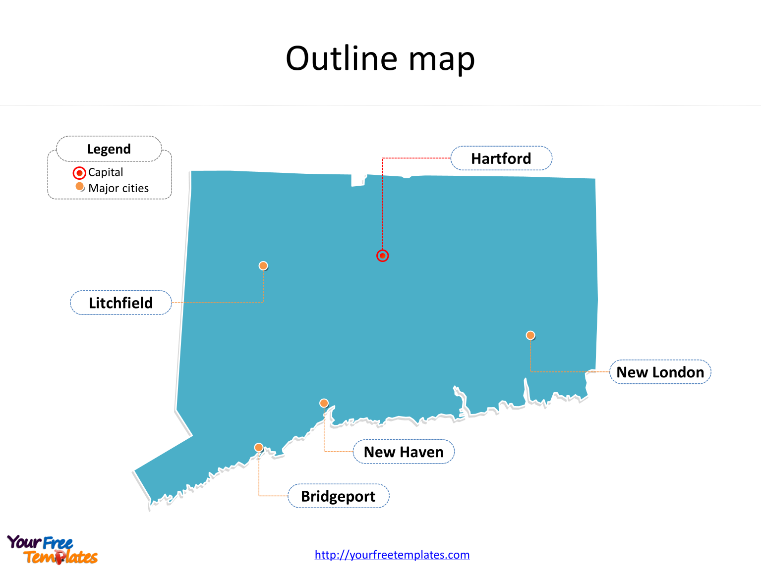 State of Connecticut map with outline and cities labeled on the Connecticut maps PowerPoint templates
