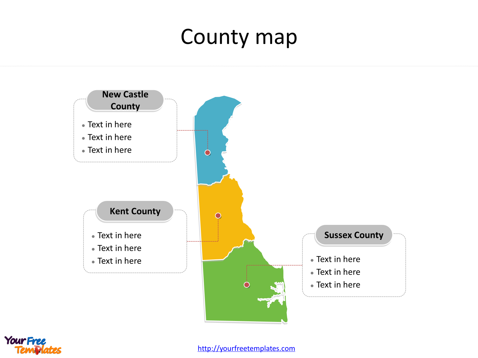 State of Delaware map with 3 counties labeled on the Delaware maps PowerPoint templates