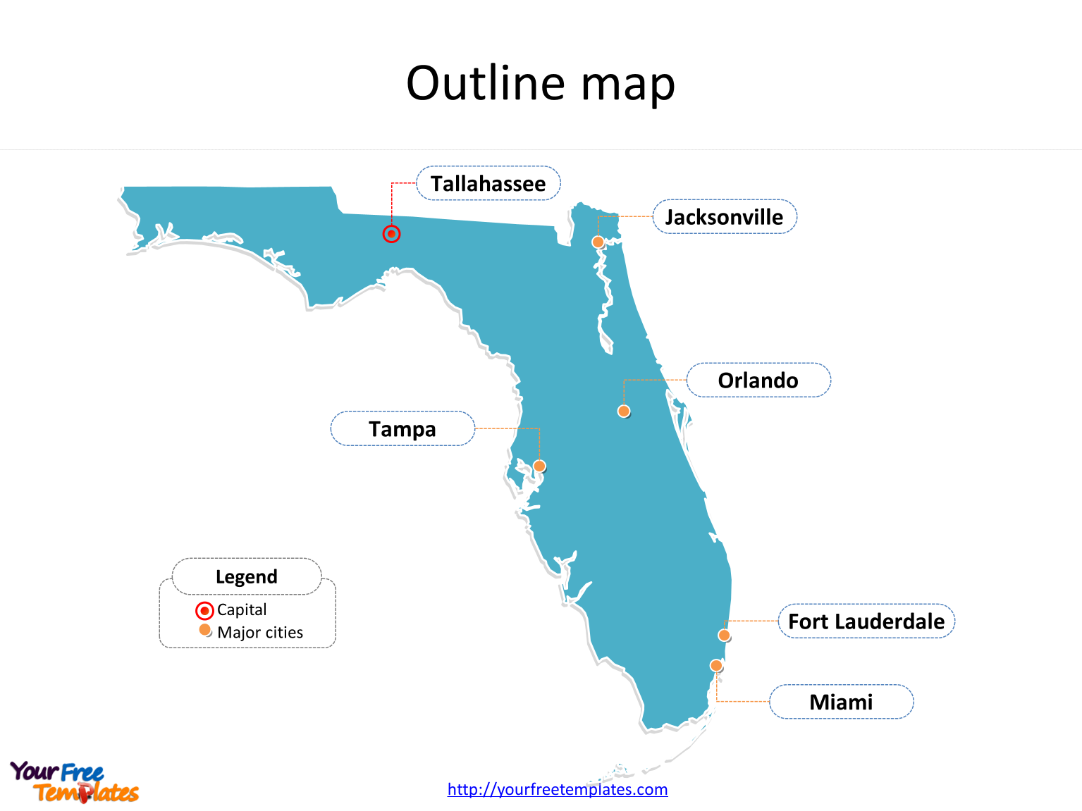 Map Of State Of Florida With Cities.Florida Map Powerpoint Templates Free Powerpoint Templates