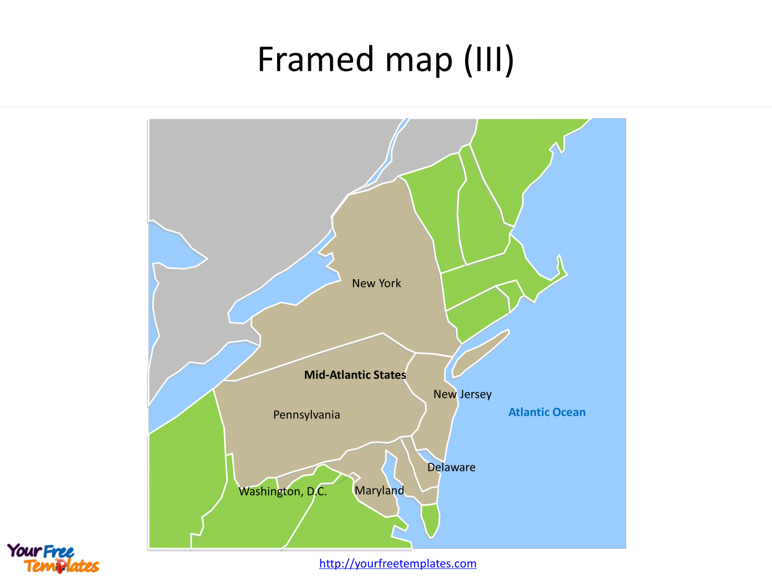 Framed US map for with Mid Atlantic States and neighboring States on the US map PowerPoint templates