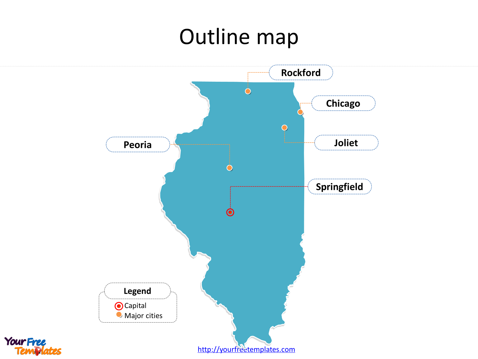 State of Illinois map with outline and cities labeled on the Illinois maps PowerPoint templates