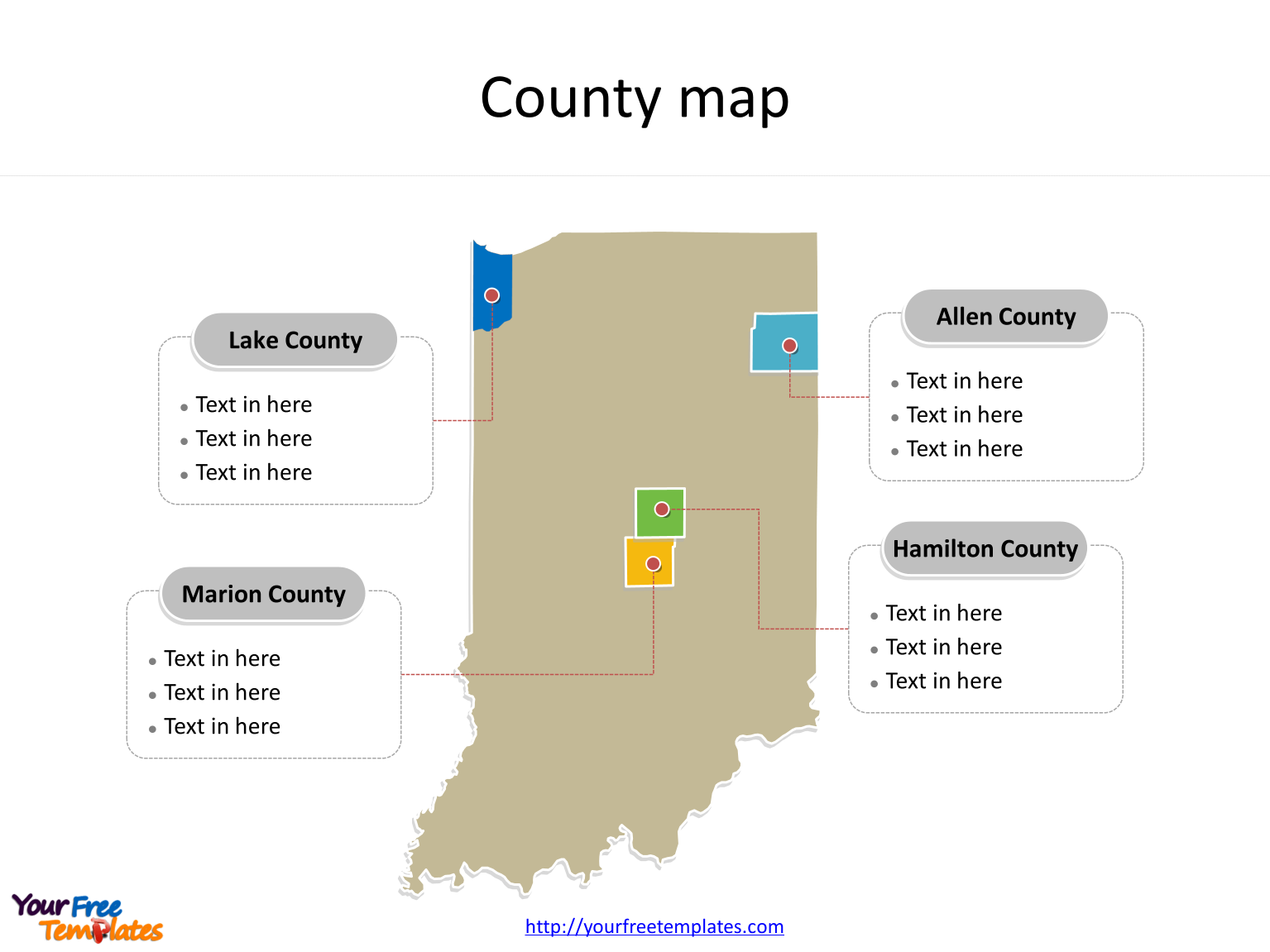 State of Indiana map with most populated counties labeled on the Indiana maps PowerPoint templates