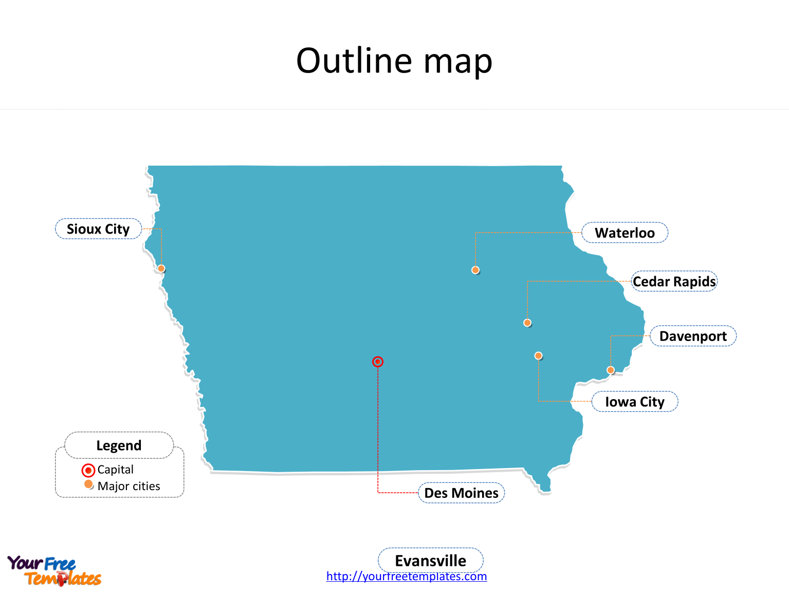 Iowa map free download free powerpoint templates state of iowa map with outline and cities labeled on the iowa maps free download gumiabroncs