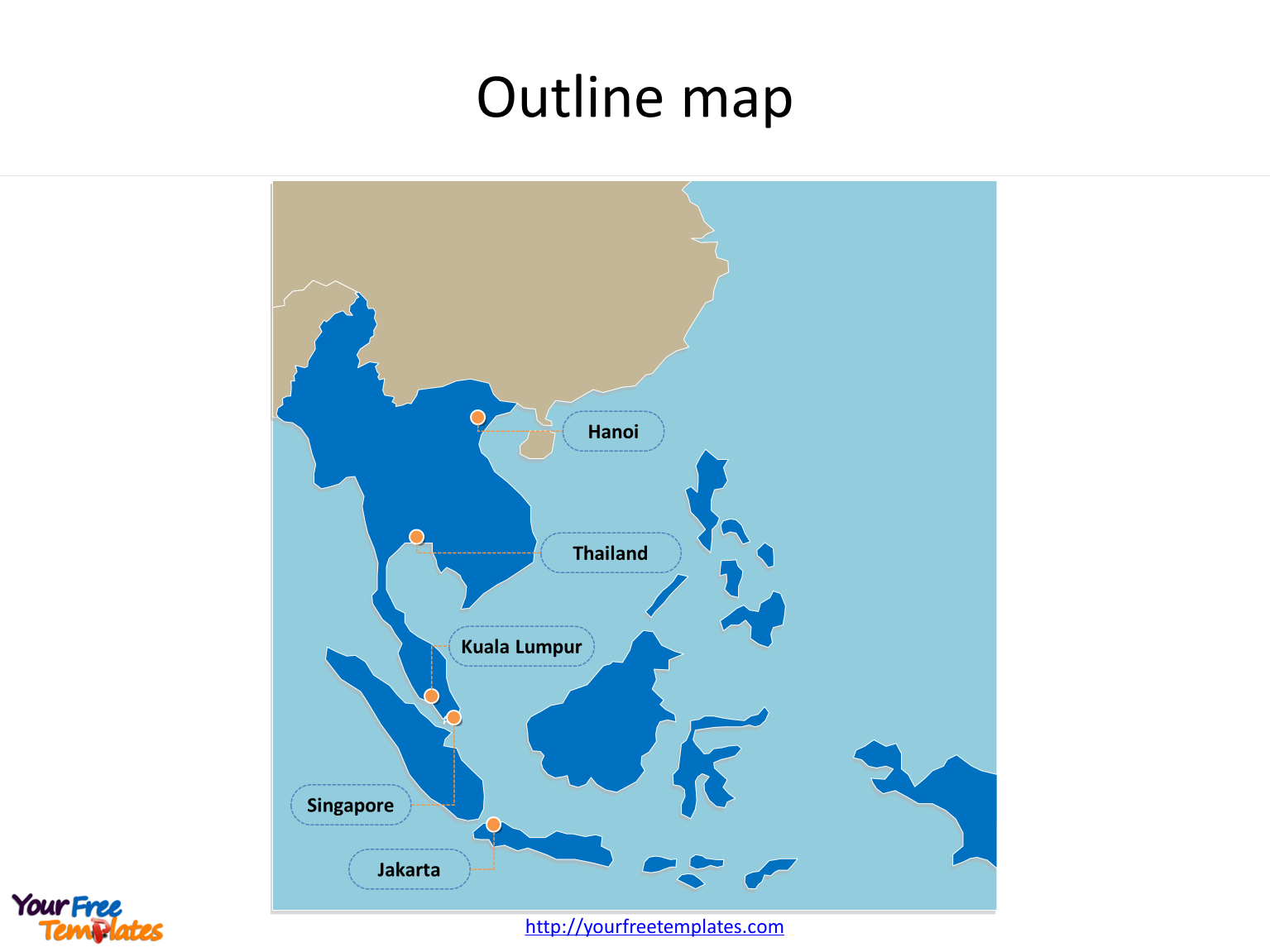 Map of Southeast Asia with outline and cities labeled on the Southeast Asia map free templates