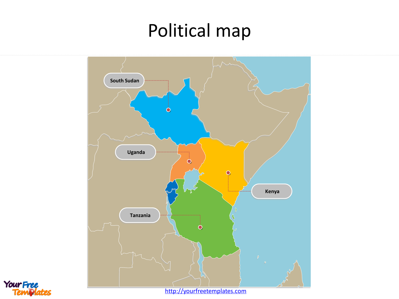 Map of East African Community with individual countries and major Countries labeled on the East African Community PowerPoint map