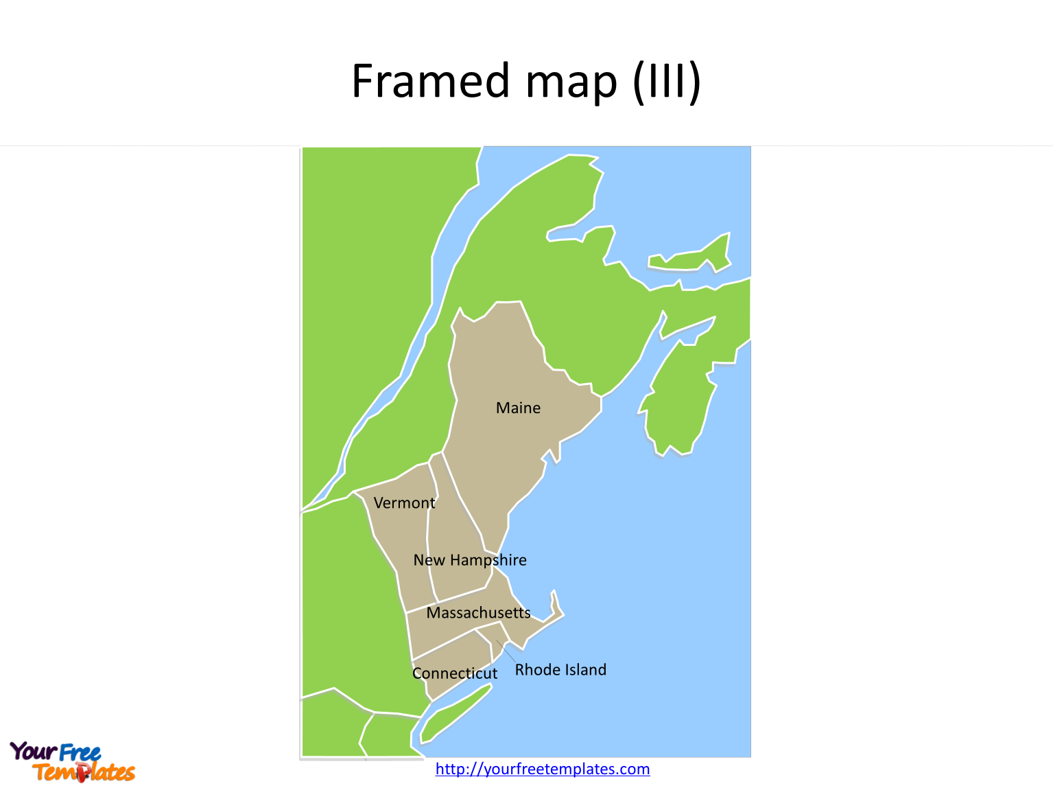 Framed New England maps and neighboring States on the US map PowerPoint templates