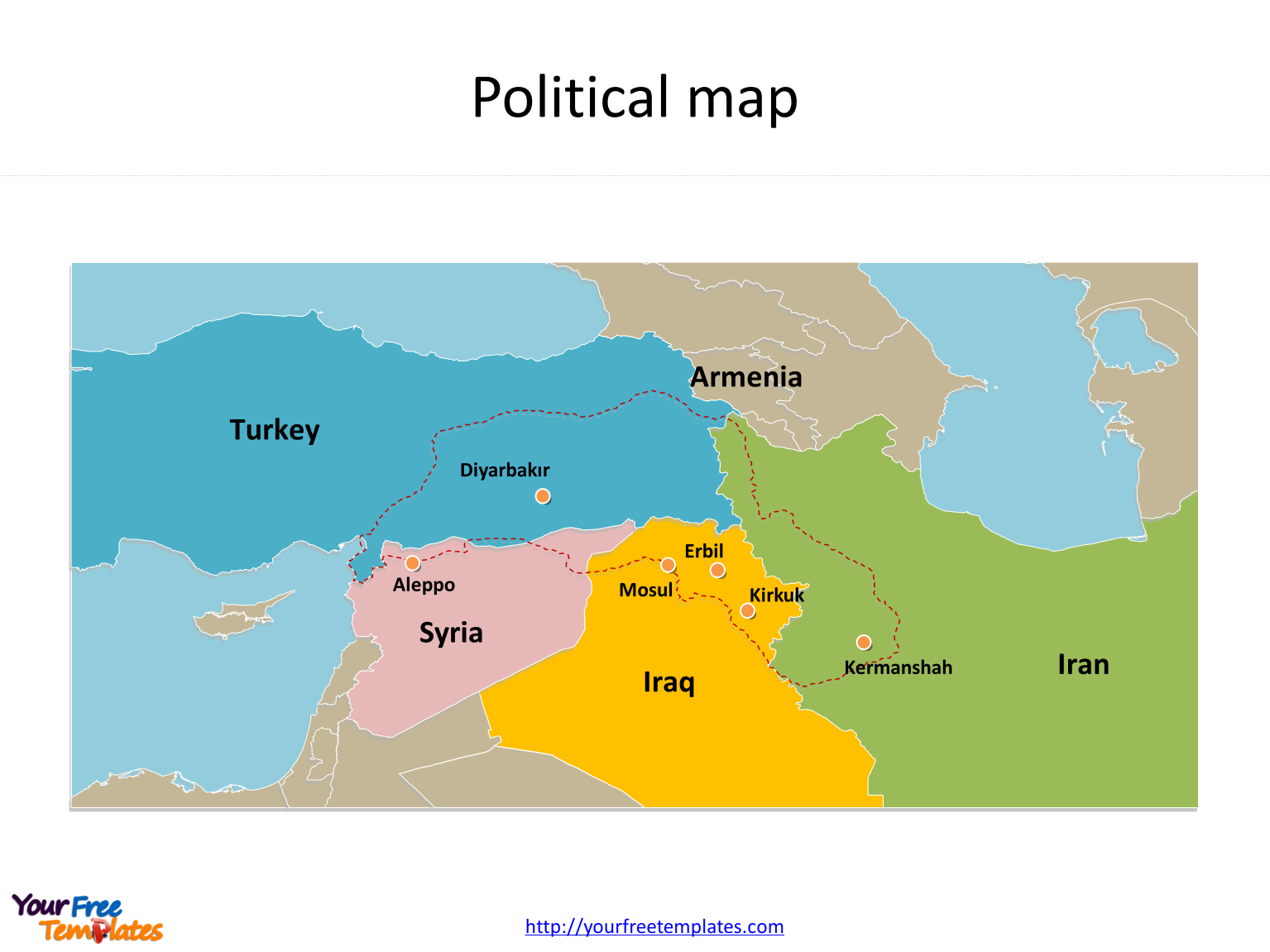 Map of Kurdistan with cities on the Kurdistan map free templates