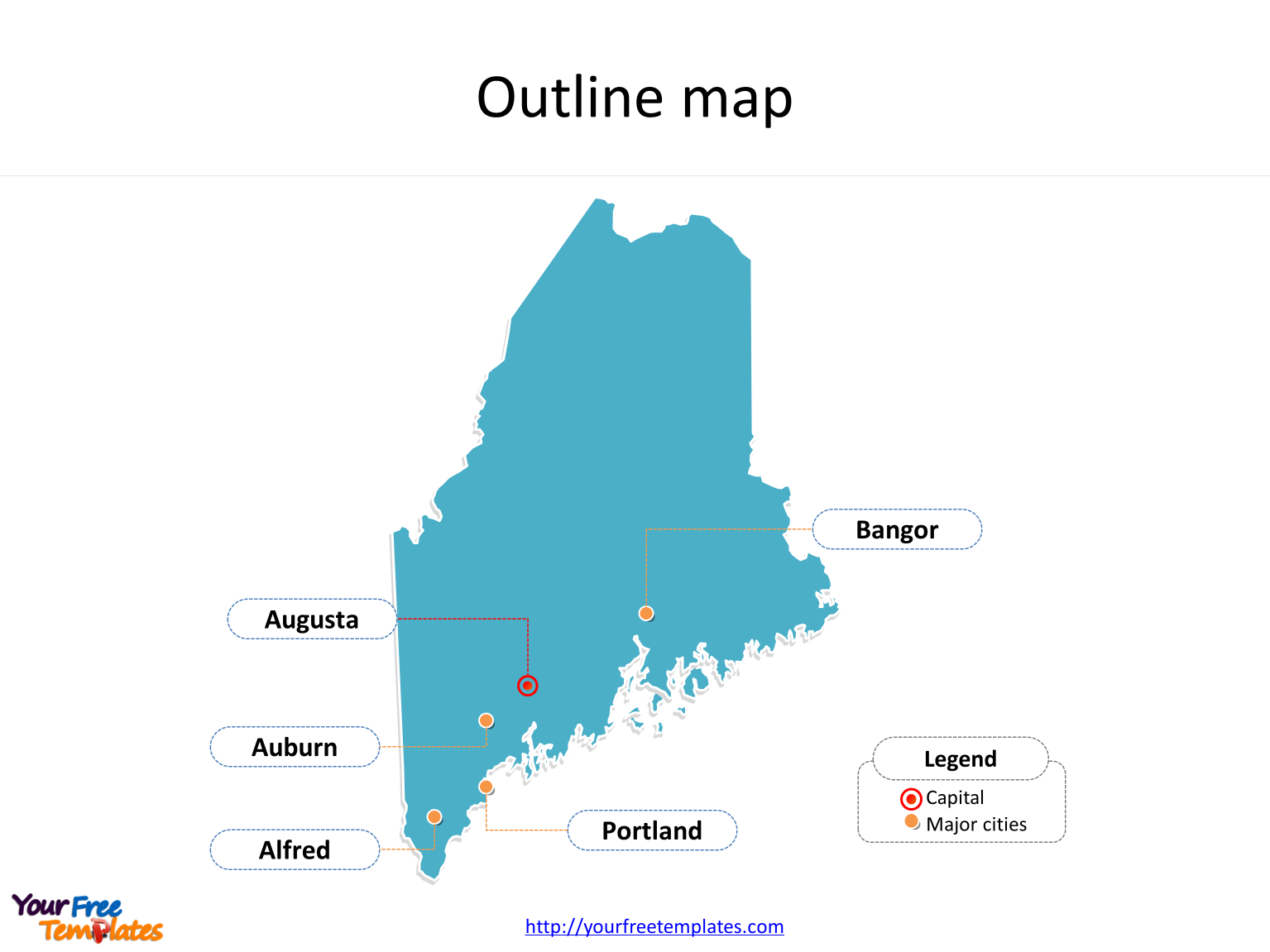 State Of Maine Map With Cities.Maine Map Powerpoint Templates Free Powerpoint Templates