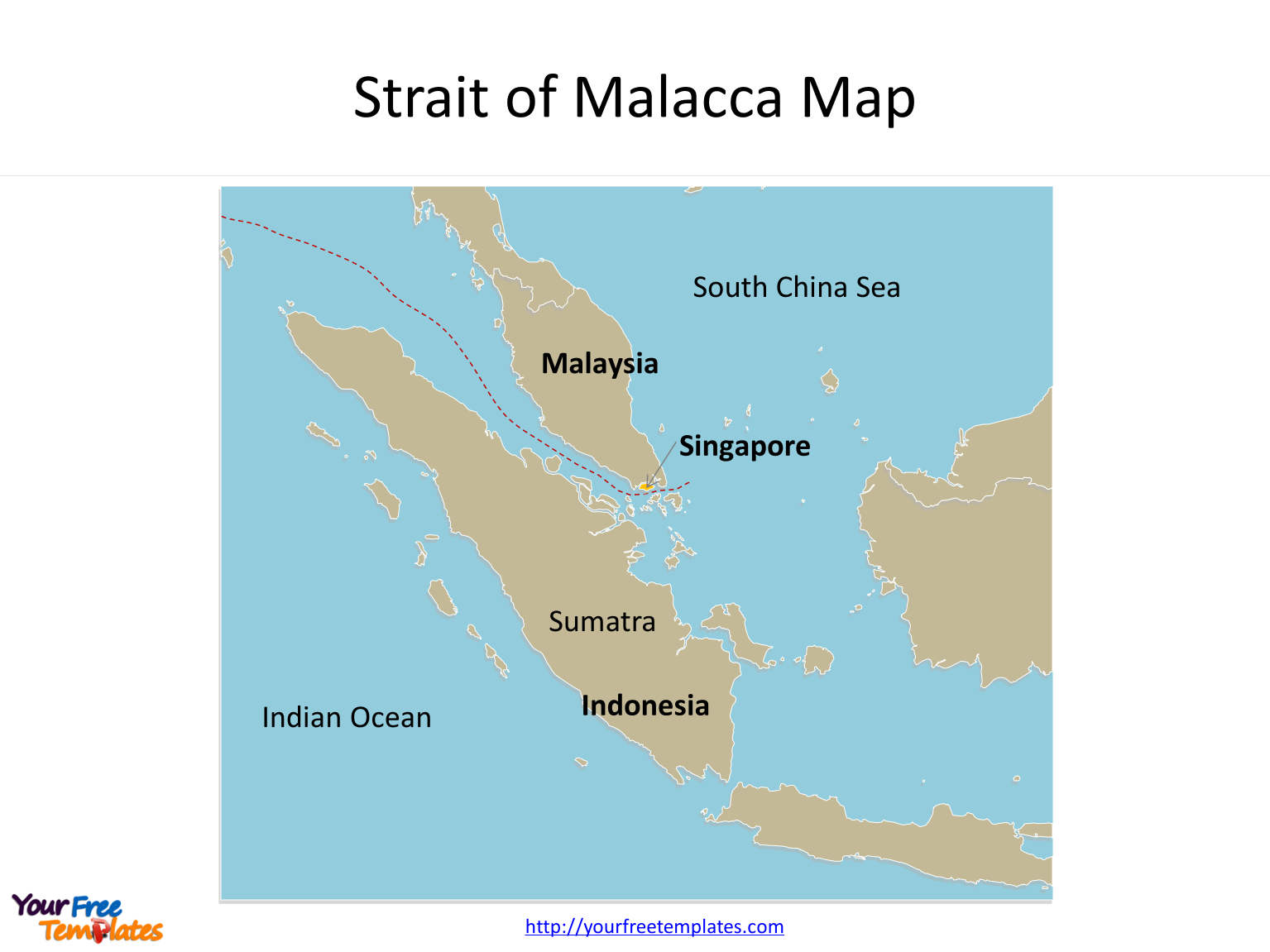 Map of Strait of Malacca with outline labeled on the Strait of Malacca map free templates