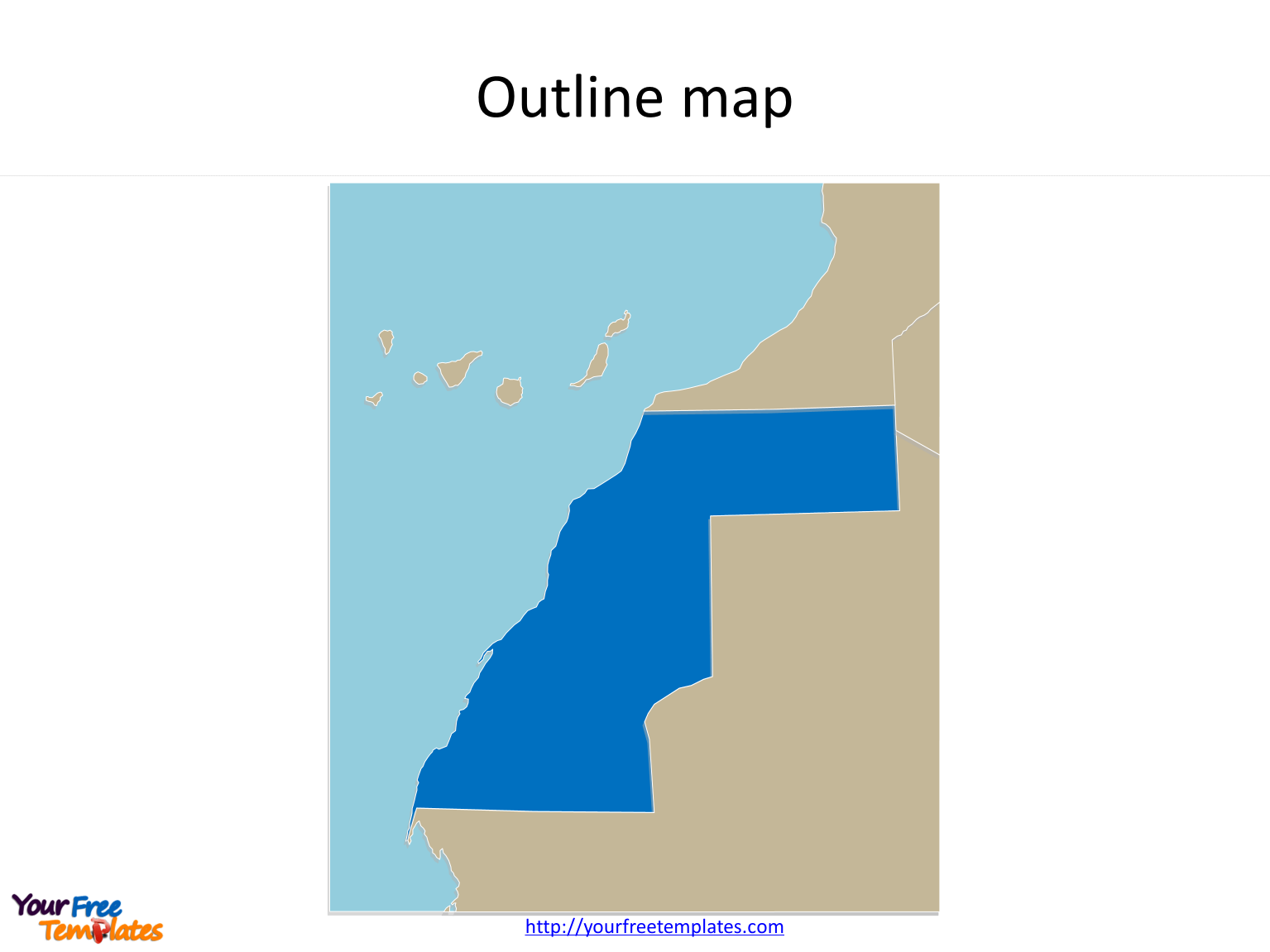 Map of Western Sahara with outline free templates