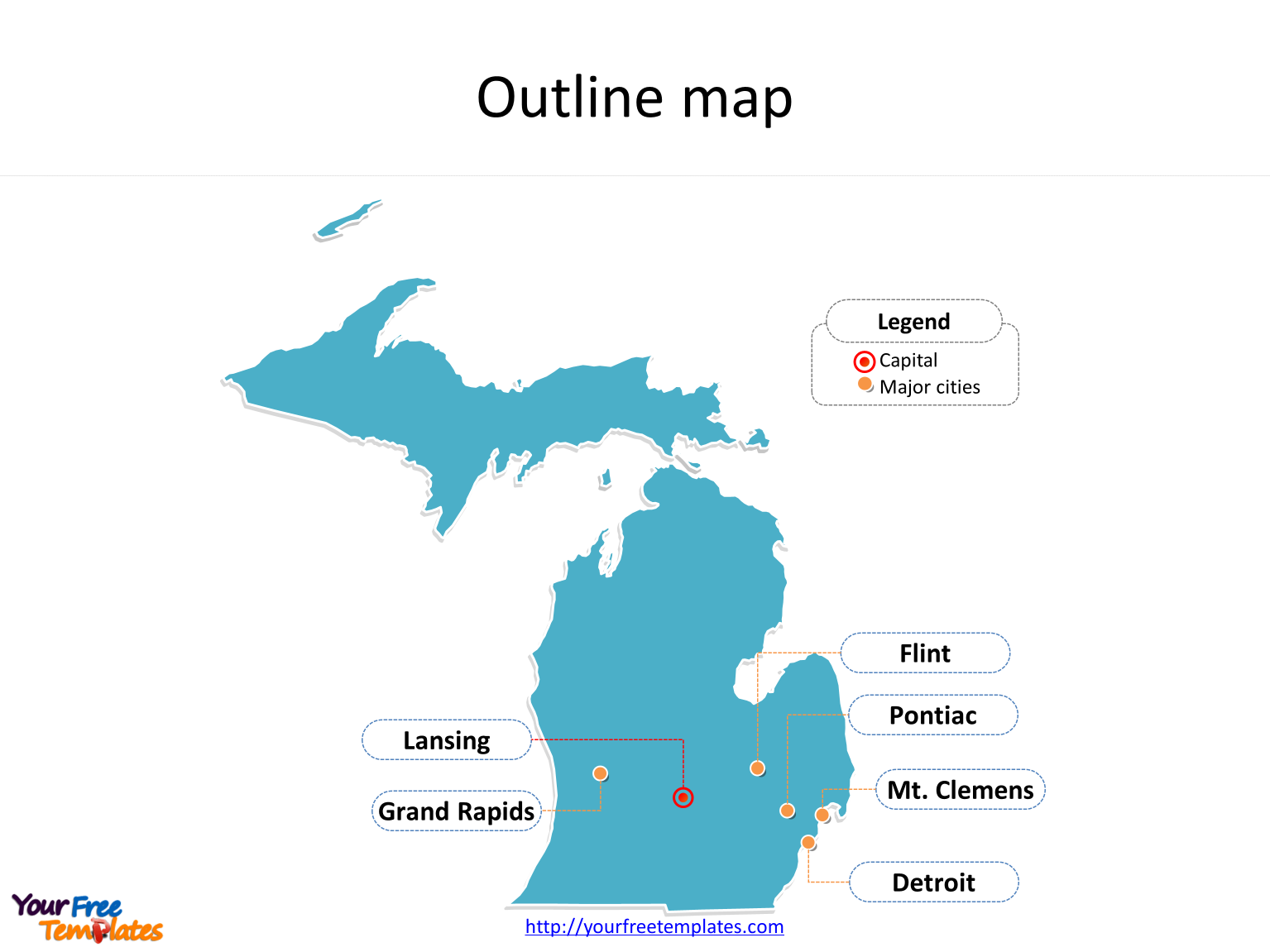 State of Michigan map with outline and cities labeled on the Michigan maps PowerPoint templates