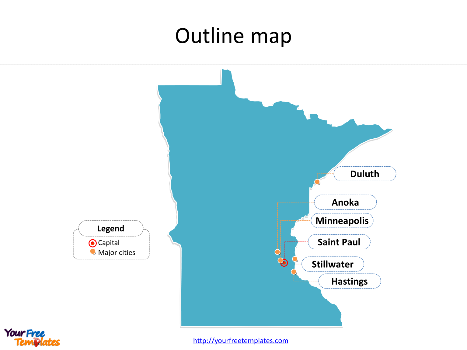 Minnesota map PowerPoint templates - Free PowerPoint Templates