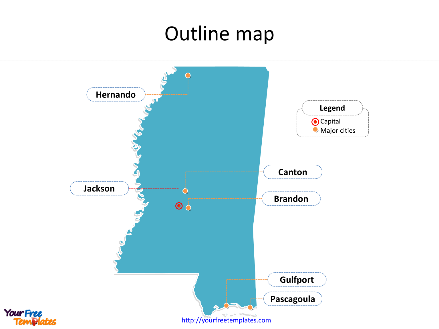 State of Mississippi map with outline and cities labeled on the Mississippi maps PowerPoint templates