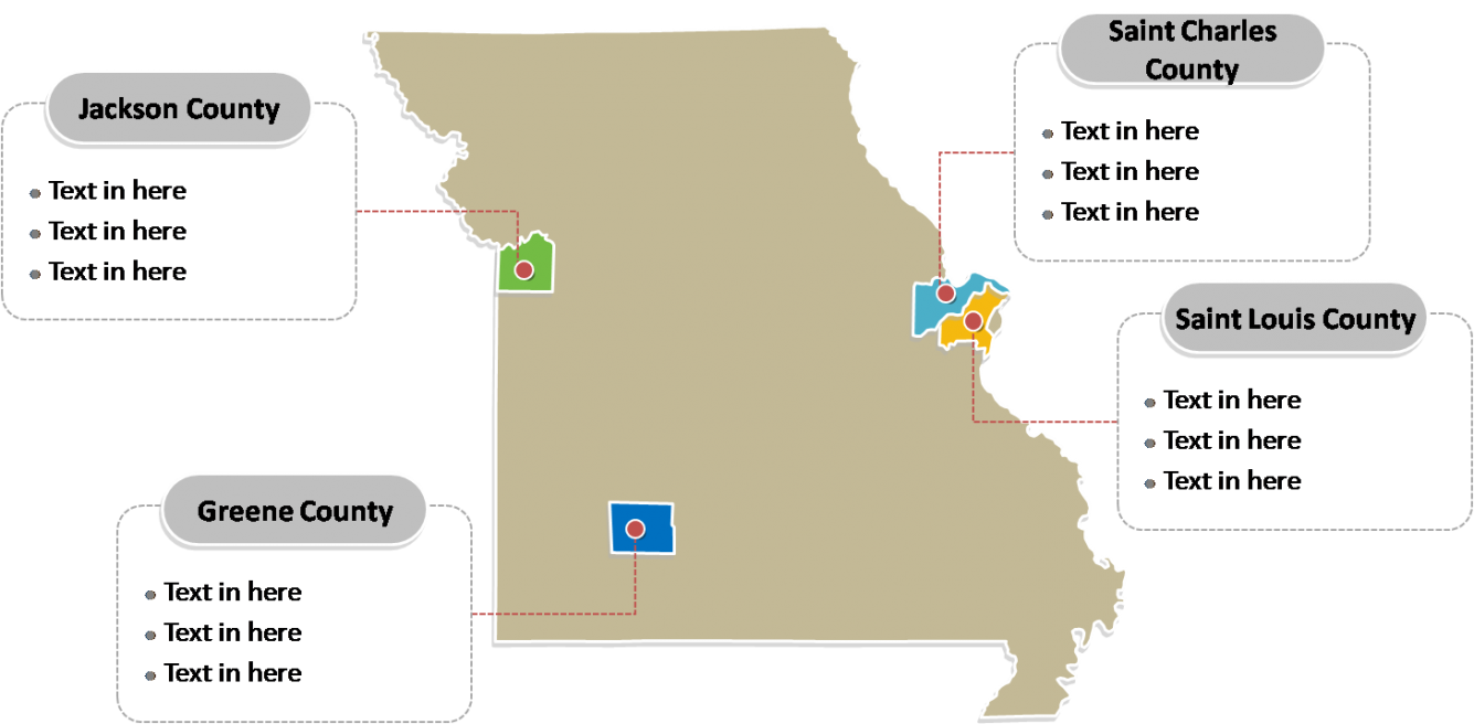 State of Missouri map with most populatedcounties labeled on the Missouri maps PowerPoint templates