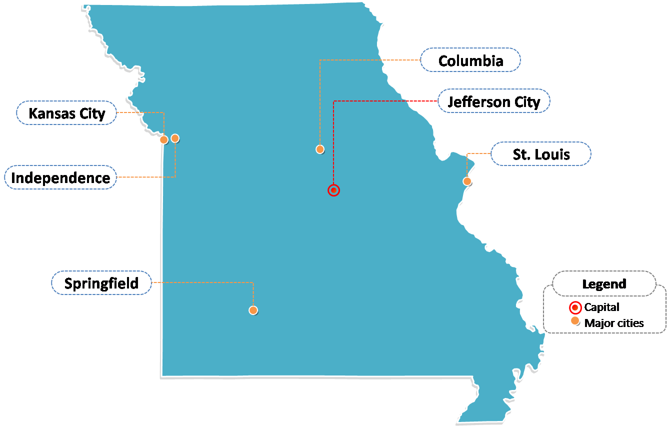 State of Missouri map with outline and cities labeled on the Missouri maps PowerPoint templates
