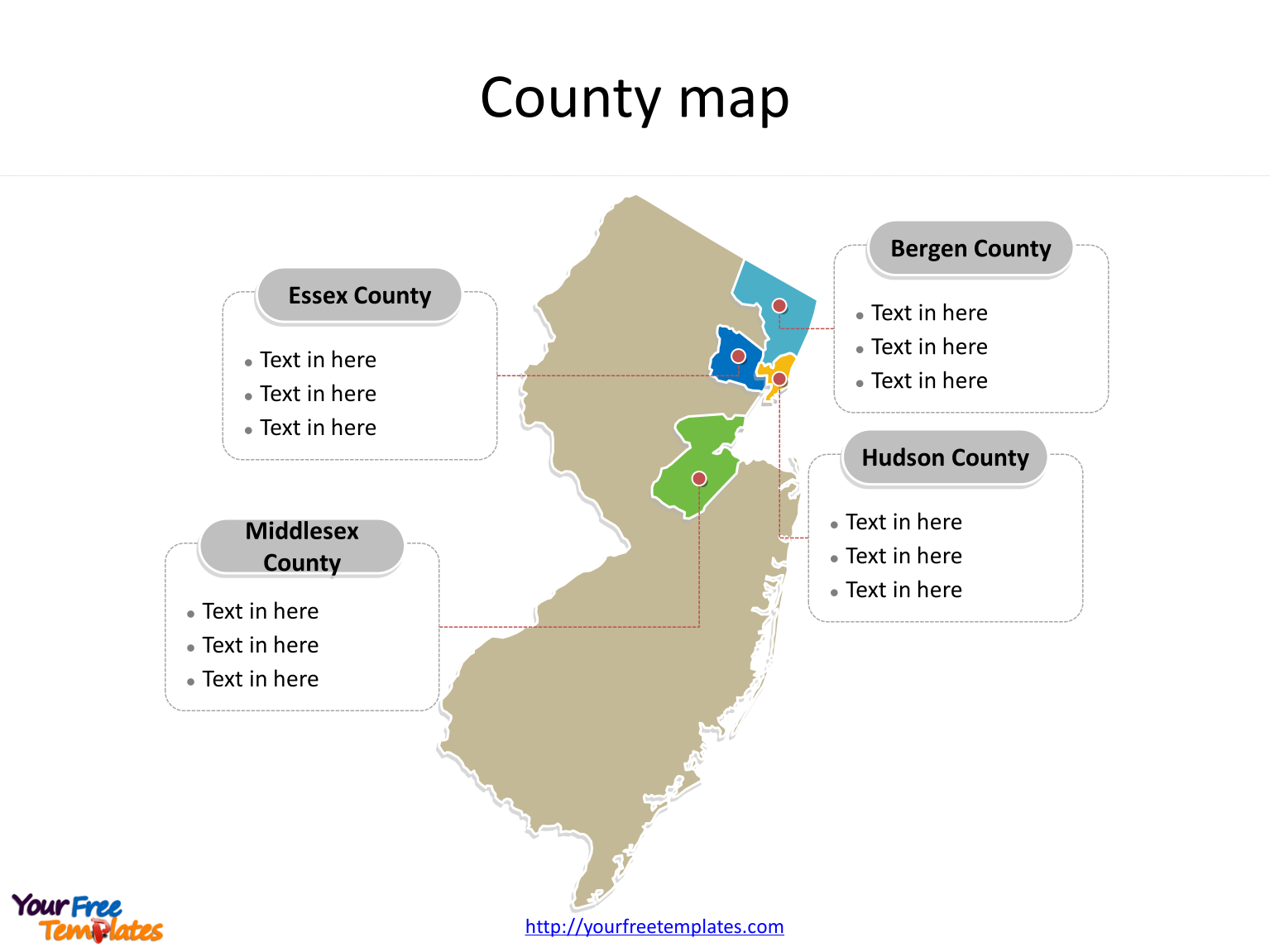 State of New Jersey map with most populated counties labeled on the New Jersey maps PowerPoint templates