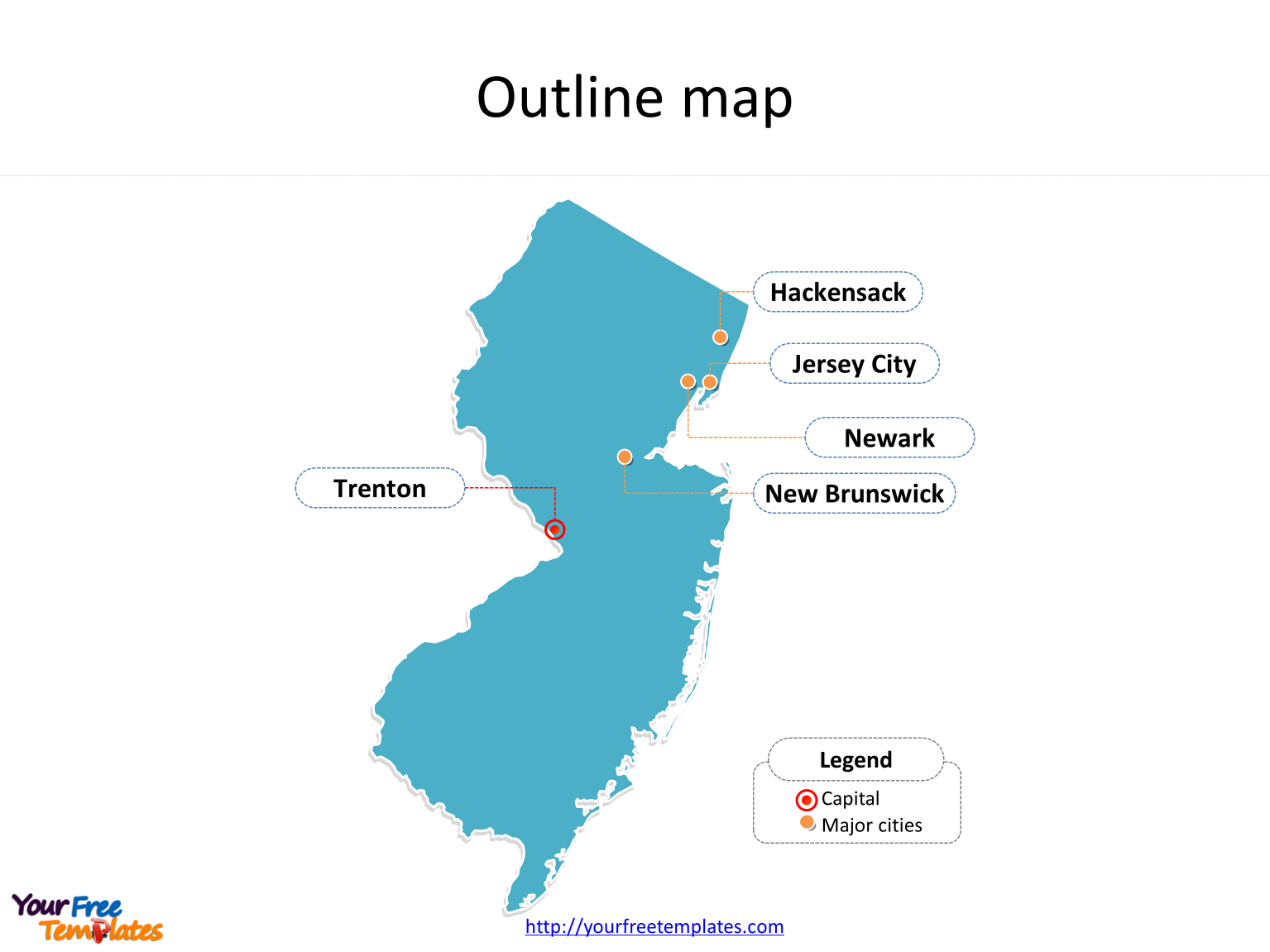 State of New Jersey map with outline and cities labeled on the New Jersey maps PowerPoint templates