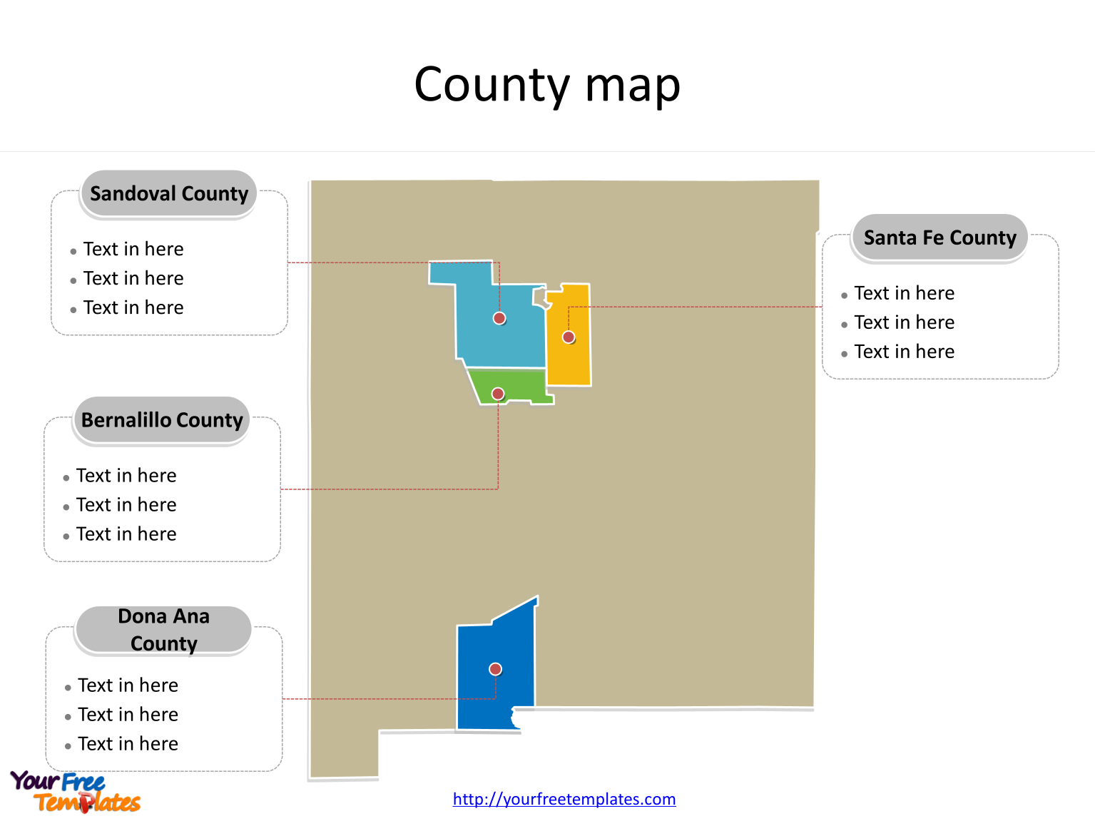 State of New Mexico map with most populated counties labeled on the New Mexico maps PowerPoint templates