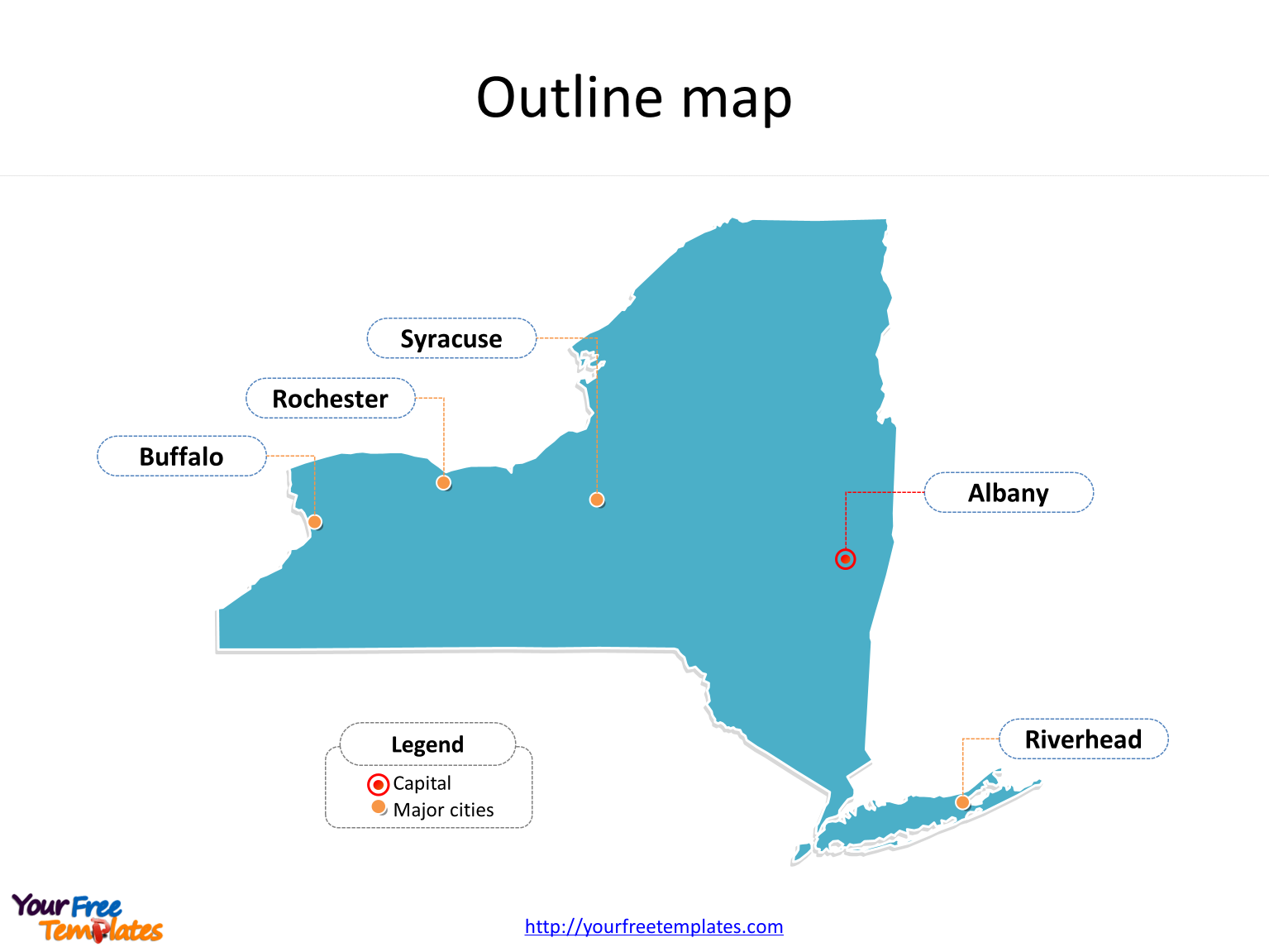 New York Map Templates Free Powerpoint Templates