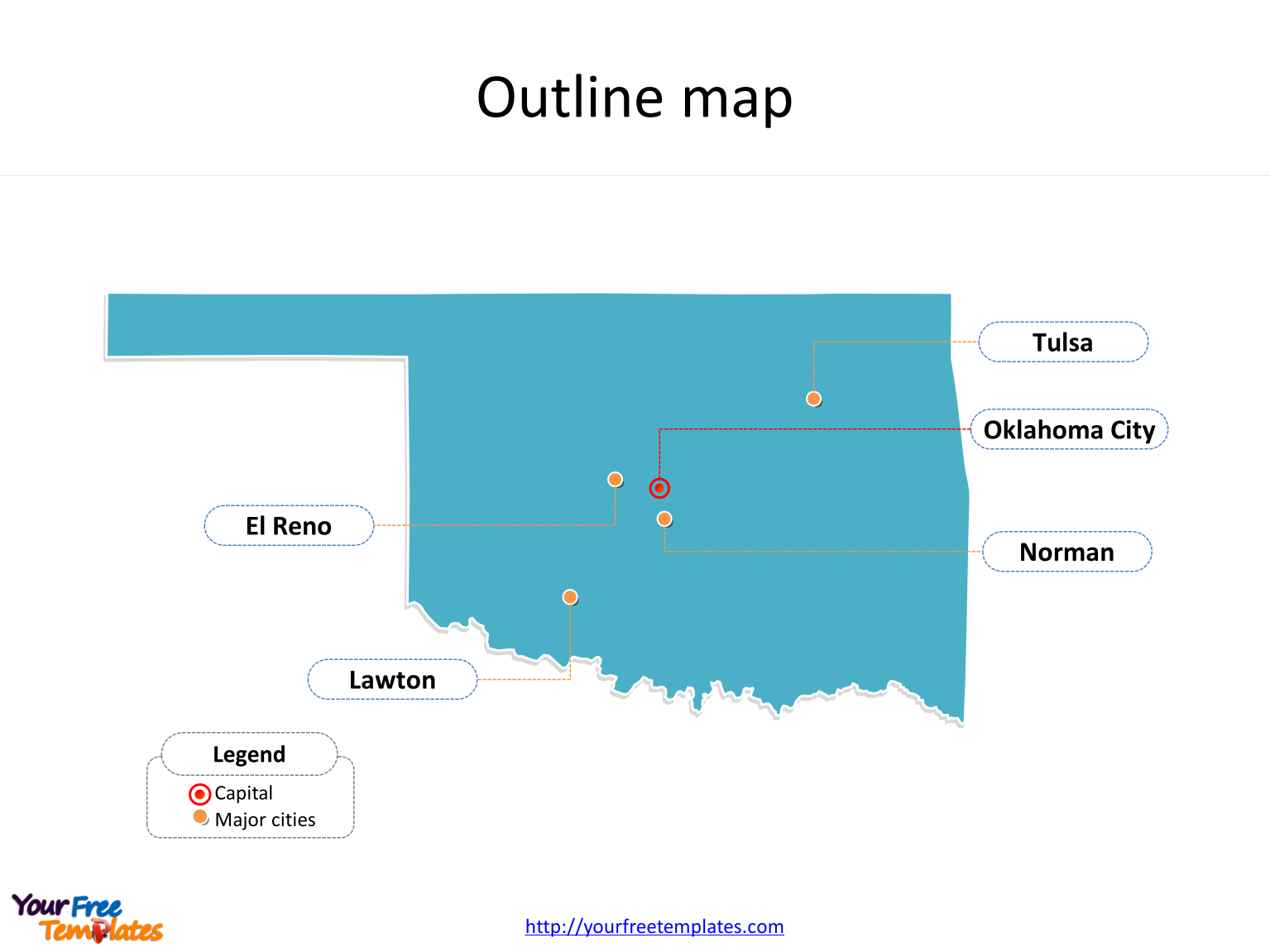 State of Oklahoma map with outline and cities labeled on the Oklahoma maps PowerPoint templates