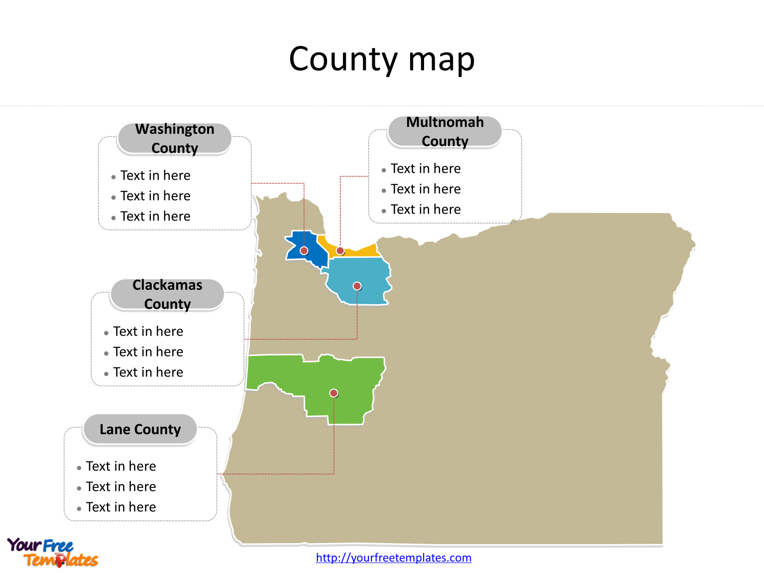State of Oregon map with most populated counties labeled on the Oregon maps PowerPoint templates