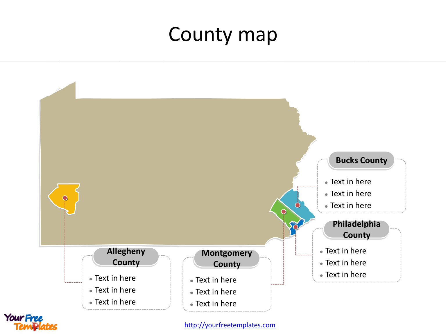 State of Pennsylvania map with most populated counties labeled on the Pennsylvania maps PowerPoint templates
