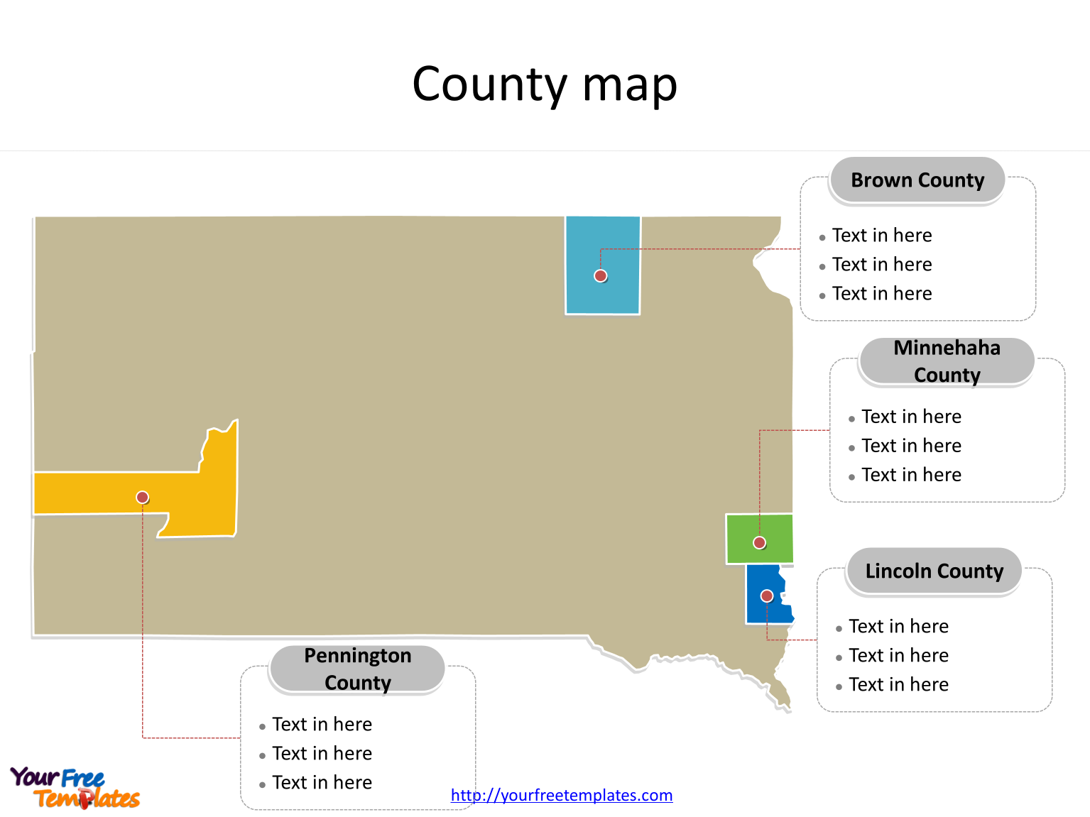 State of South Dakota map with most populated counties labeled on the South Dakota maps PowerPoint templates