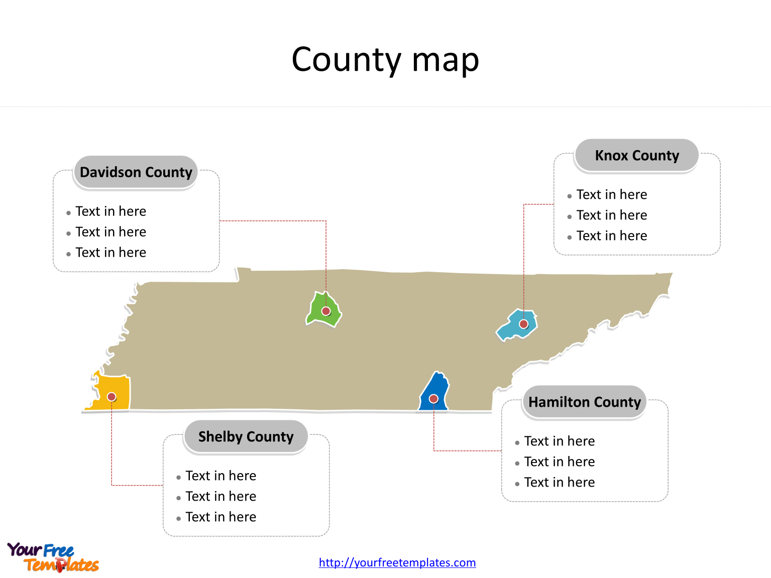 State of Tennessee map with most populated counties labeled on the Tennessee maps PowerPoint templates
