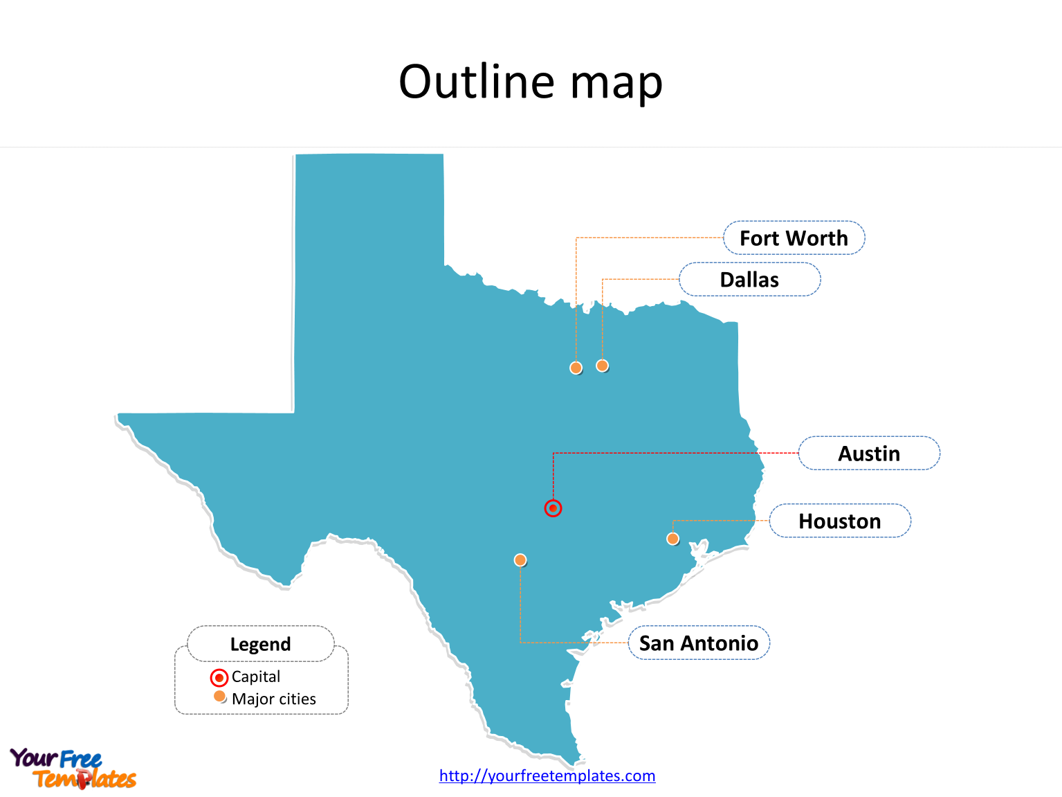 State of Texas map with outline and cities labeled on the Texas maps PowerPoint templates