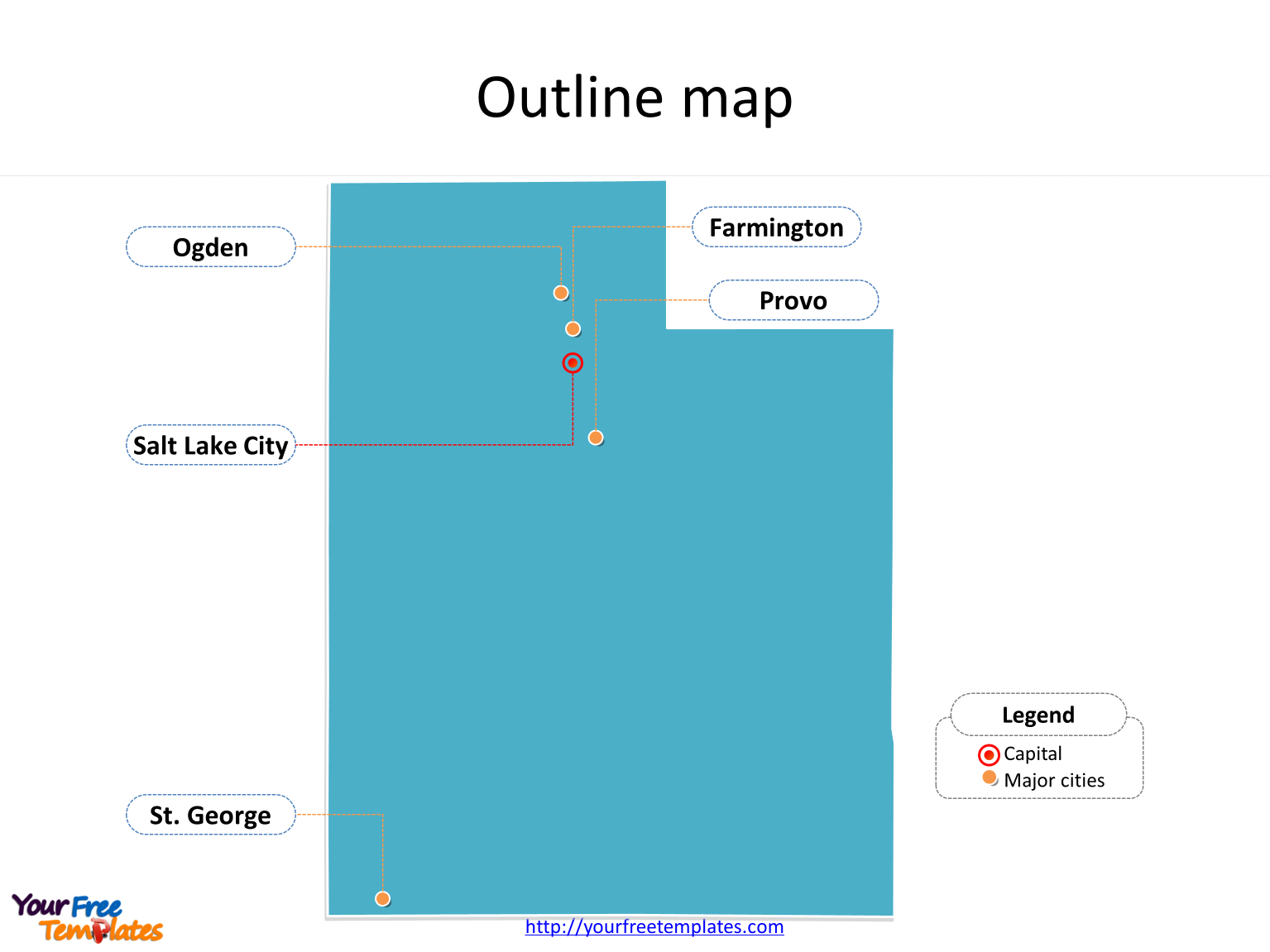 Utah Map Powerpoint Template Free Powerpoint Templates