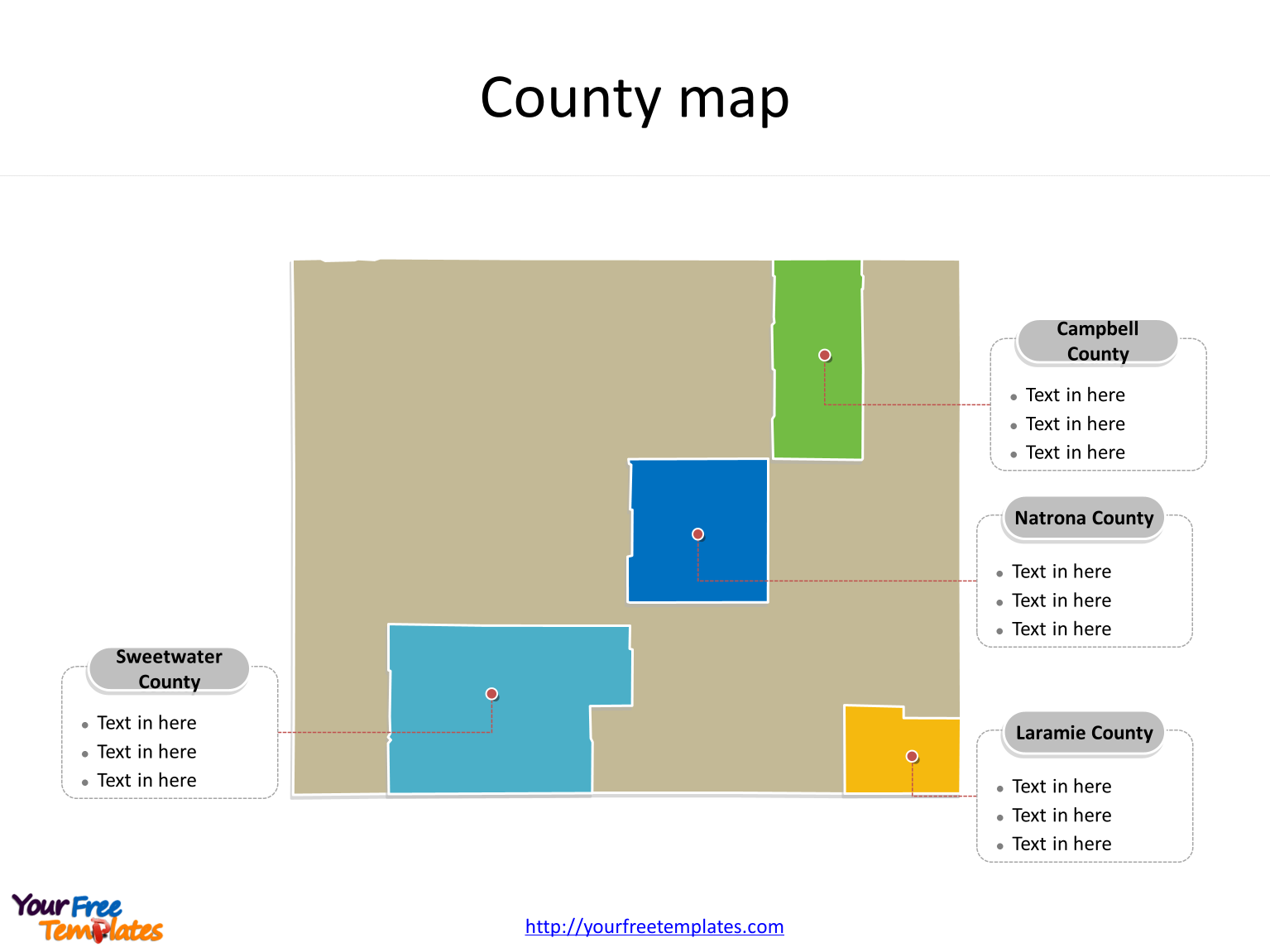 State of Wyoming map with most populated counties labeled on the Wyoming maps PowerPoint templates