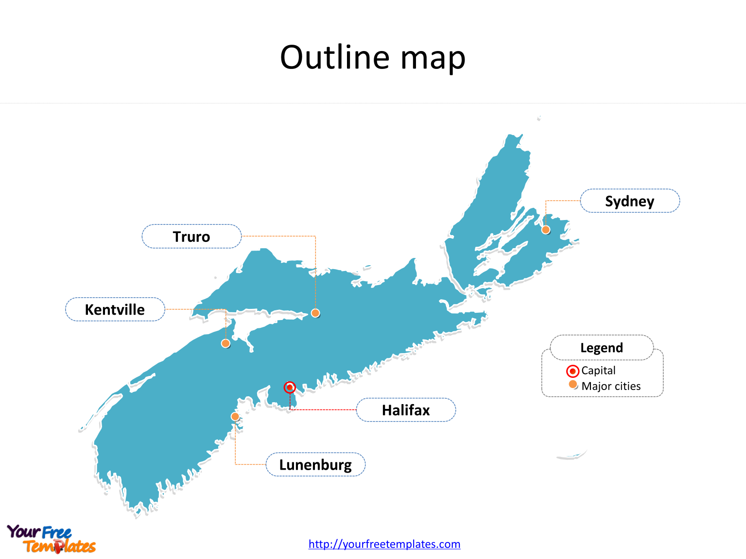Province of Nova Scotia map with outline and cities labeled on the Nova Scotia maps PowerPoint templates