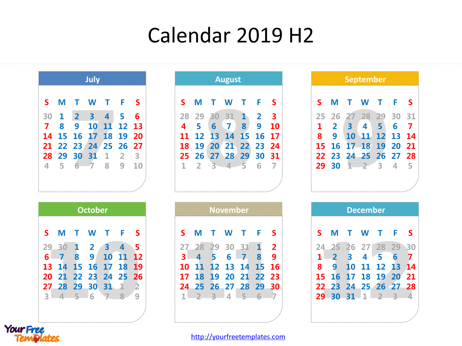 monthly calendar template with dates of six months in it