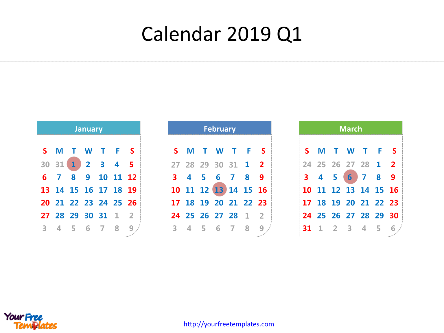 image relating to 3 Month Printable Calendars named Printable calendar 2019 template - Cost-free PowerPoint Templates