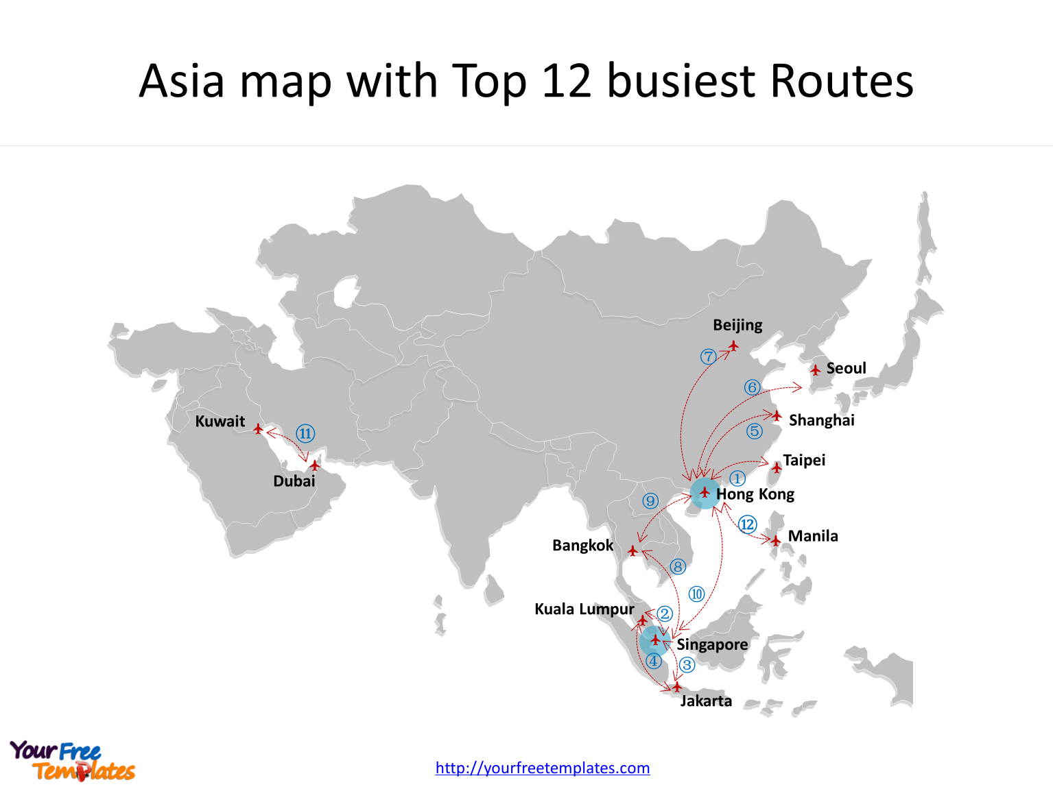 TOP busiest Air Routes on Asia map in PowerPoint templates