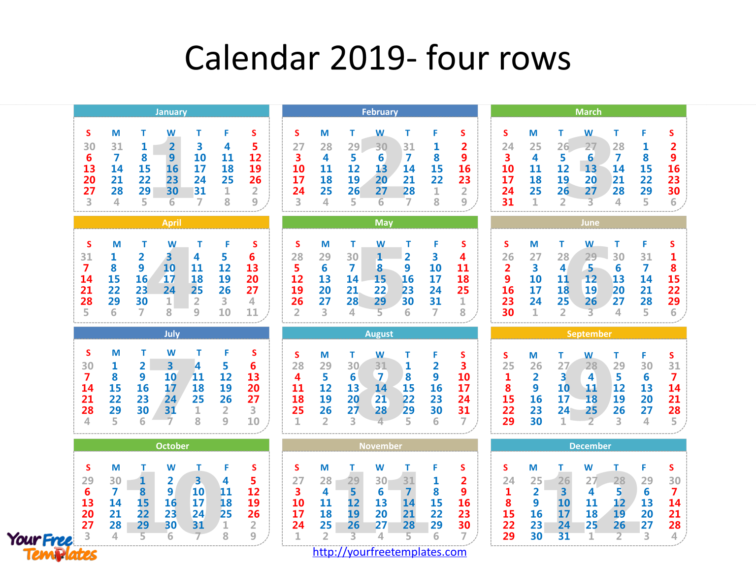 printable calendar 2019 template with every date in it