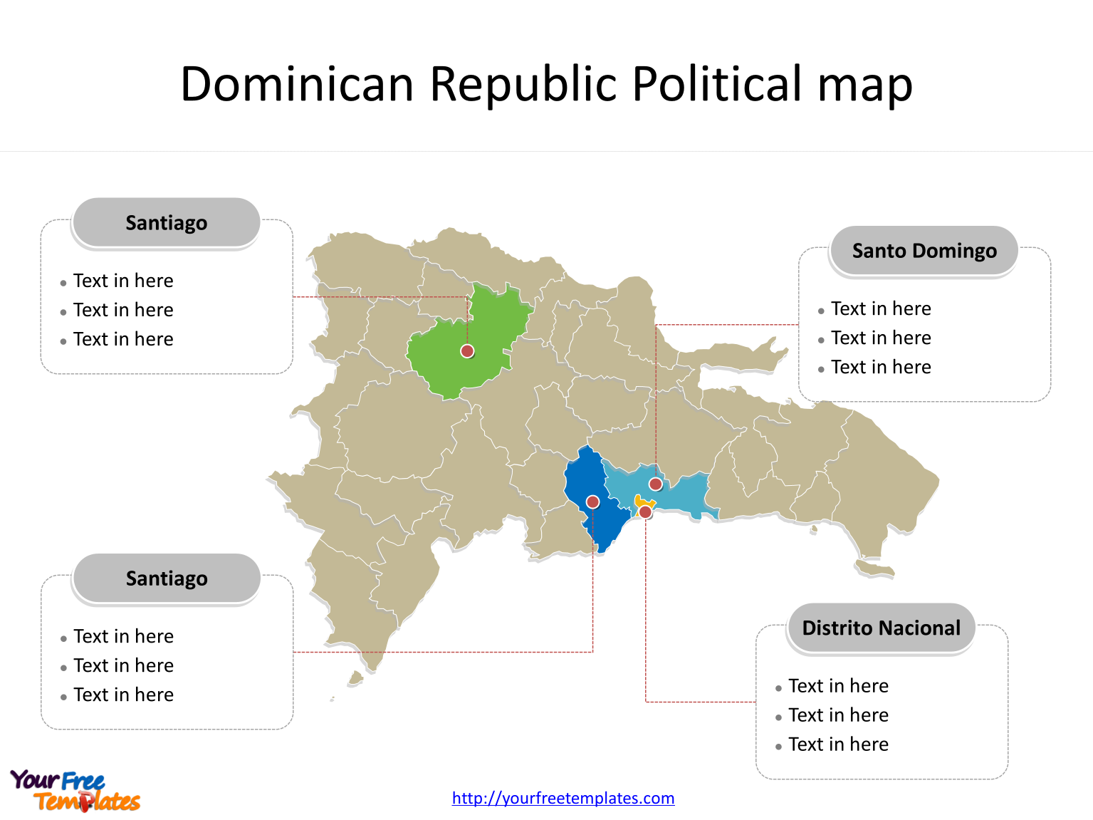 Map of Dominican Republic with political division and major Provinces labeled on the Dominican Republic map blank templates