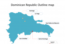 Map of Dominican Republic with outline and cities labeled on the Dominican Republic map blank templates