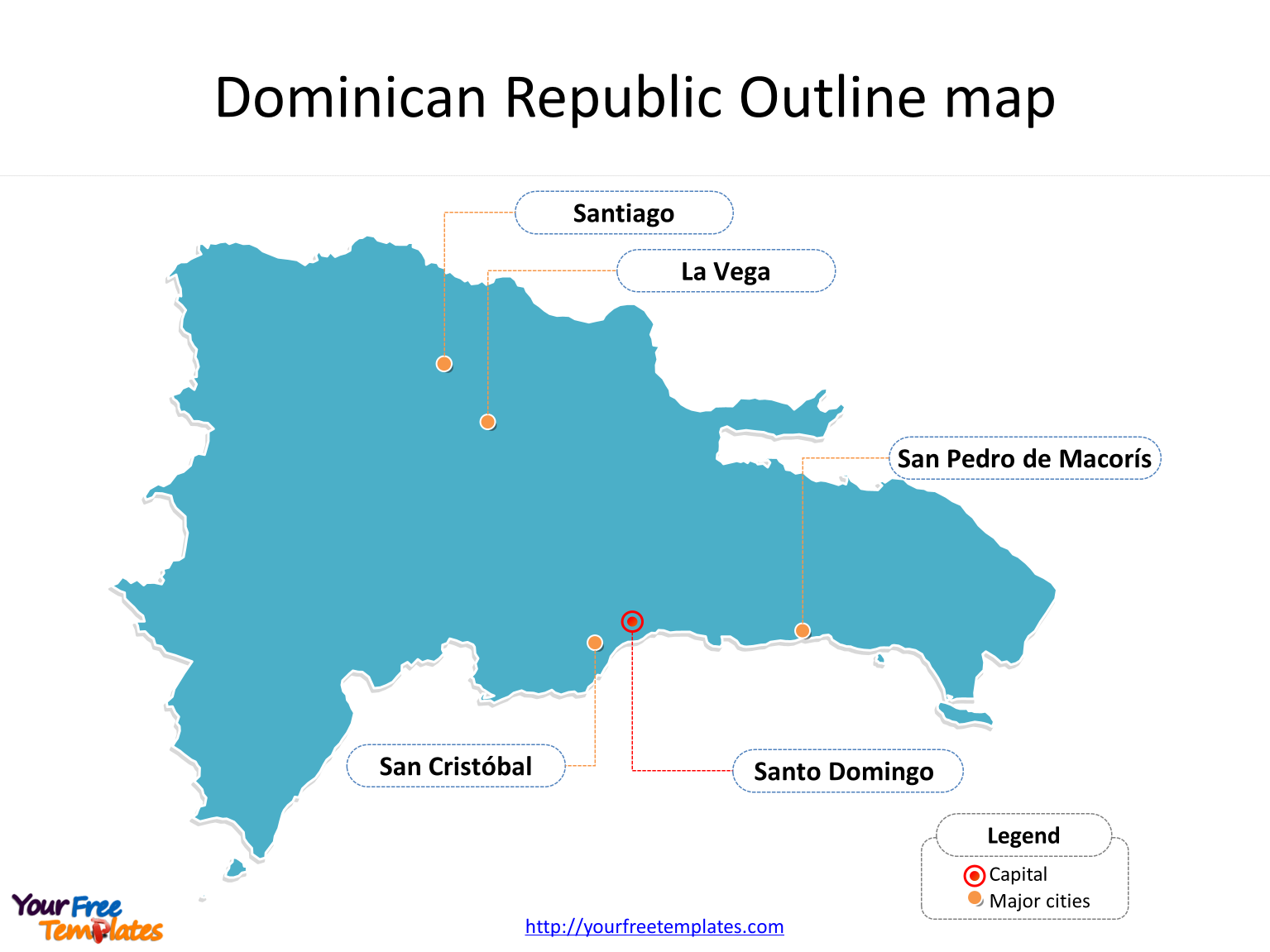 Dominican Republic Map templates - Free PowerPoint Templates on
