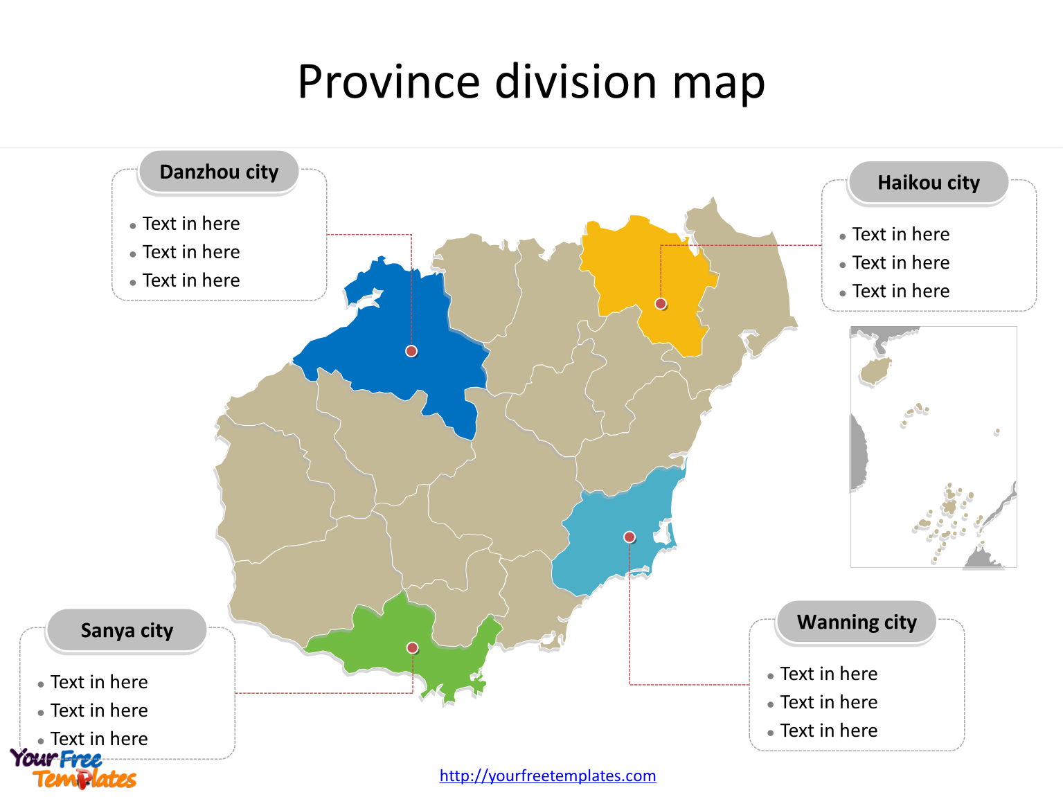 Province of Hainan map with most populated divisions labeled on the Hainan maps PowerPoint templates