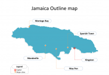 Map of Jamaica with outline and cities labeled on the Jamaica map blank templates