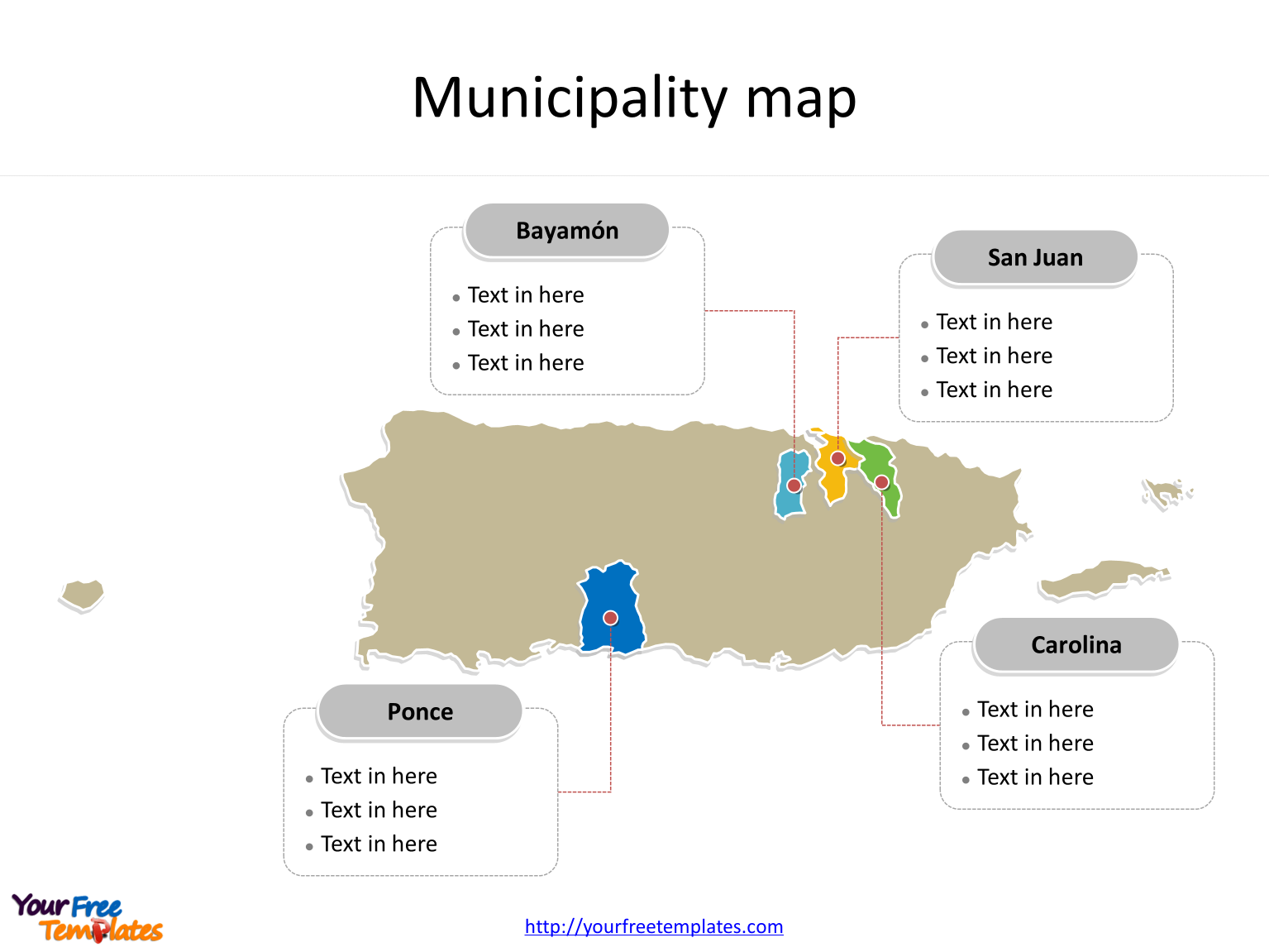 State of Puerto Rico map with most populated Municipalities labeled on the Puerto Rico maps PowerPoint templates