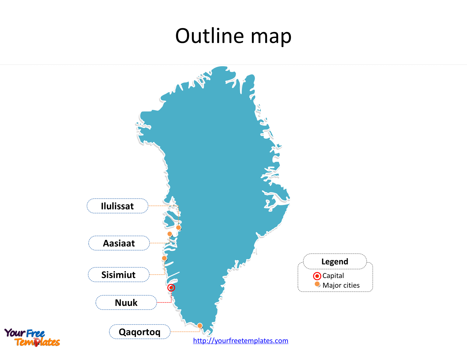 Greenland Map free templates - Free PowerPoint Templates