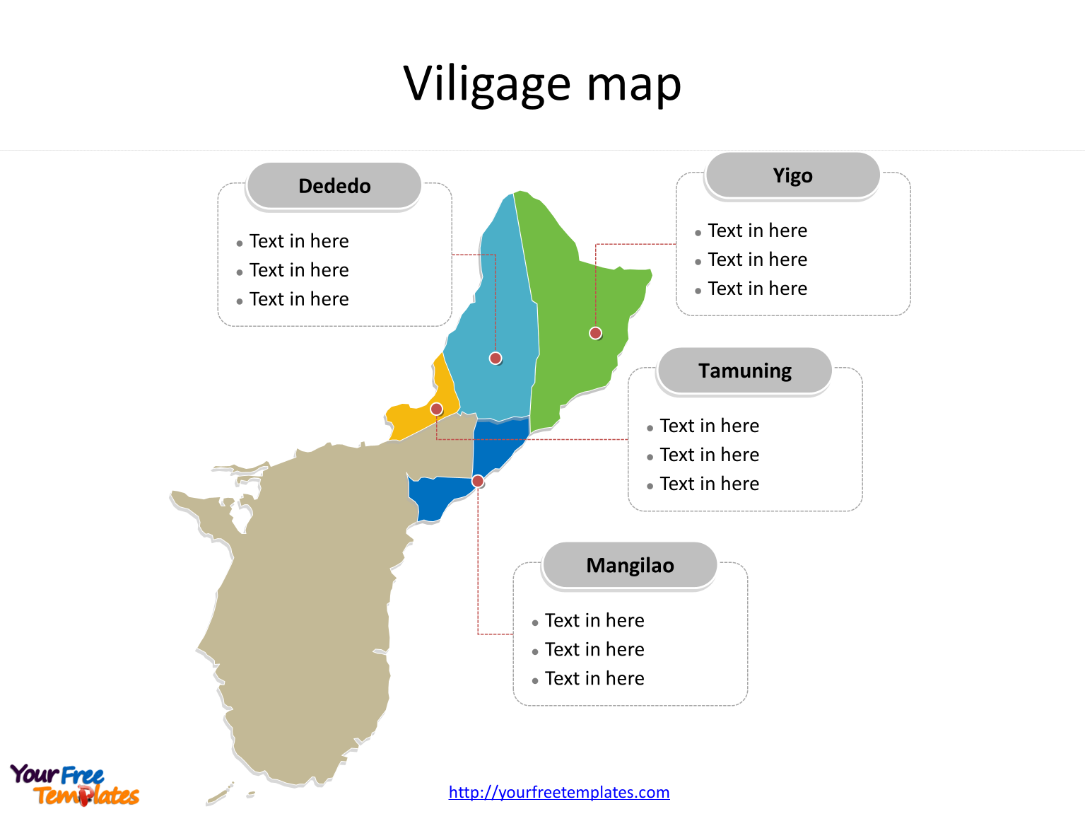 Guam map with most populated Villages labeled on the Guam maps PowerPoint templates